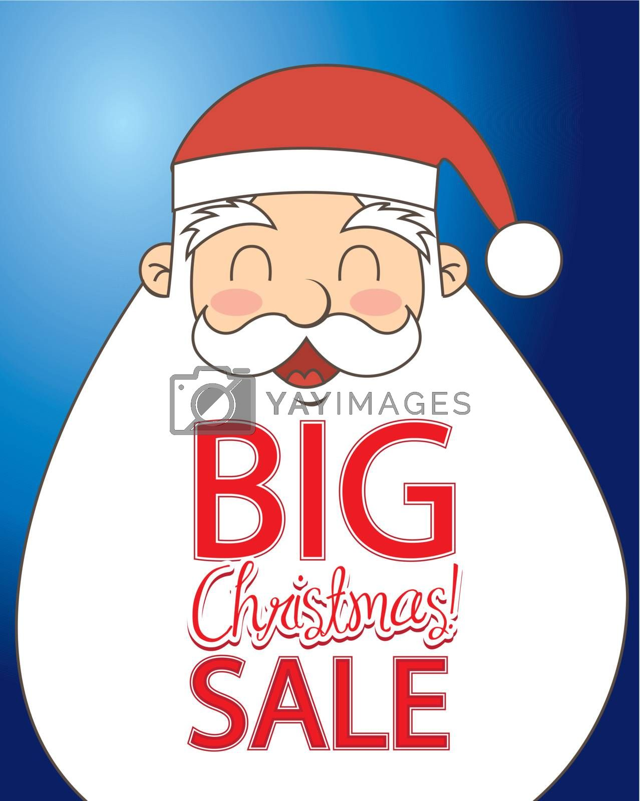 Christmas sale on a big santa over blue background