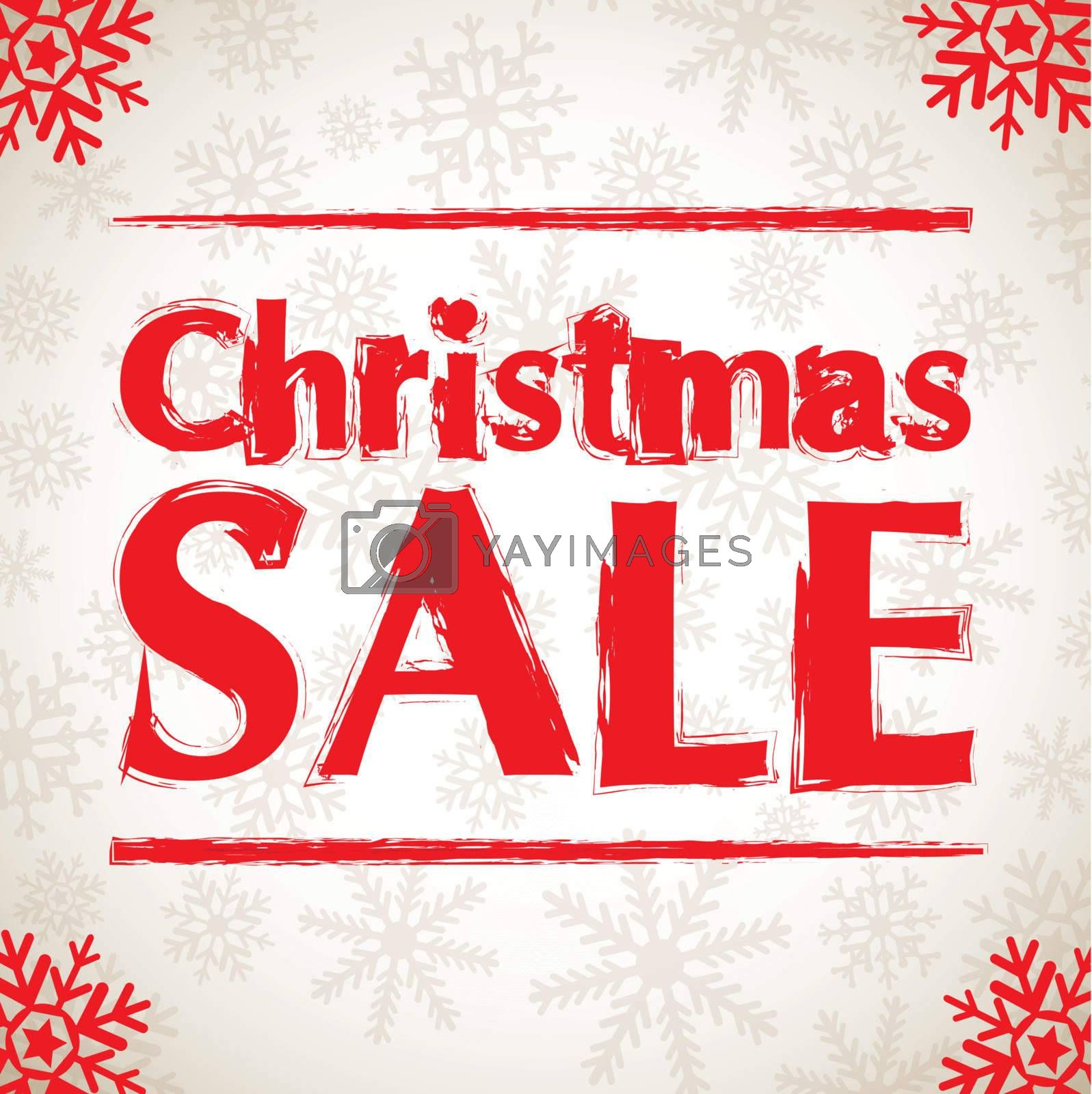 Christmas sales with snow over white background