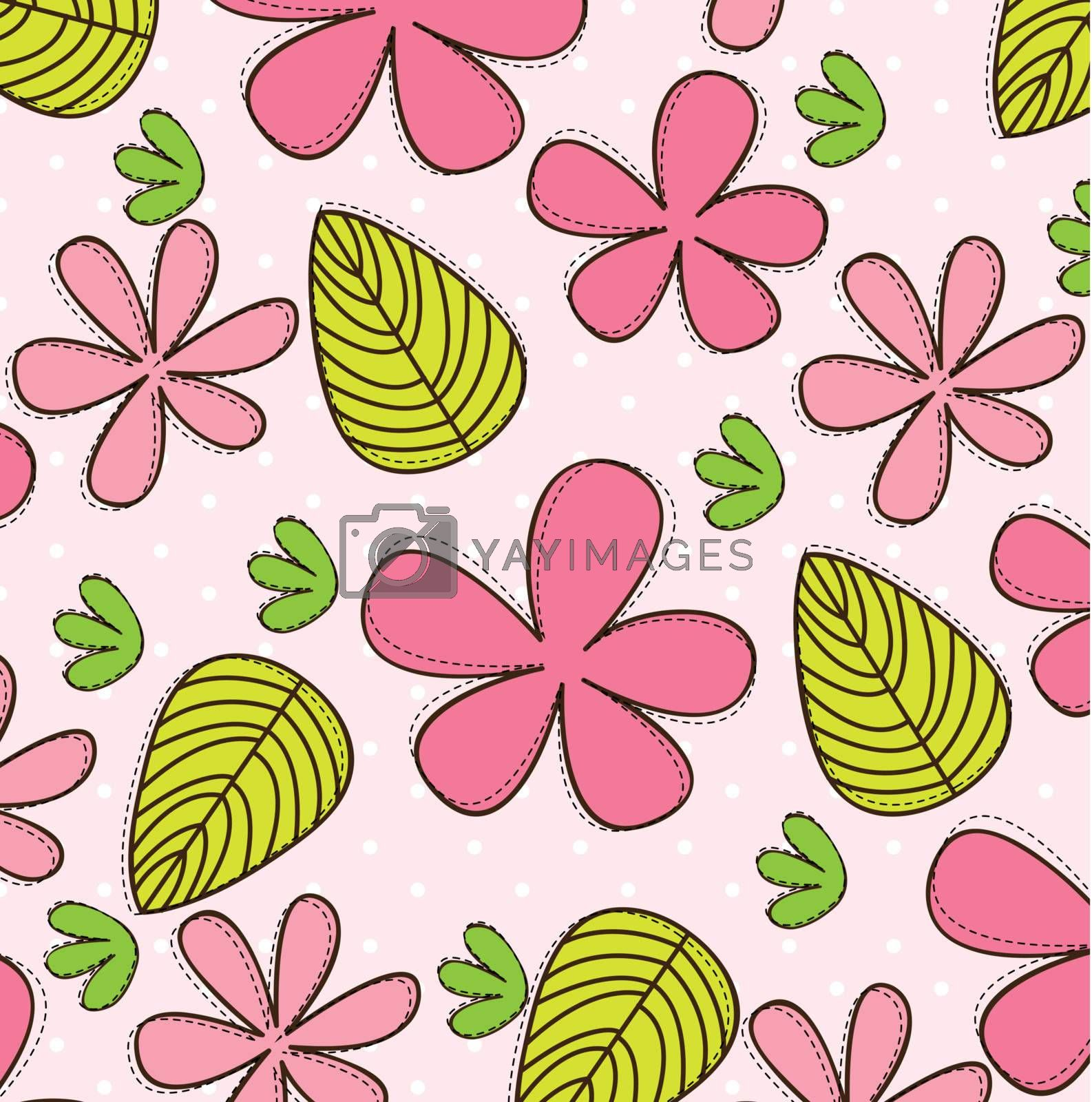 Pink flower with green and yellow leaves vector illustration