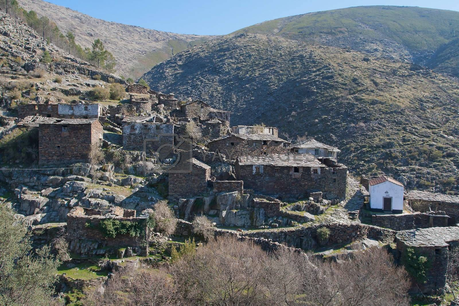 Village of Drave in the middle of the mountains in Portugal