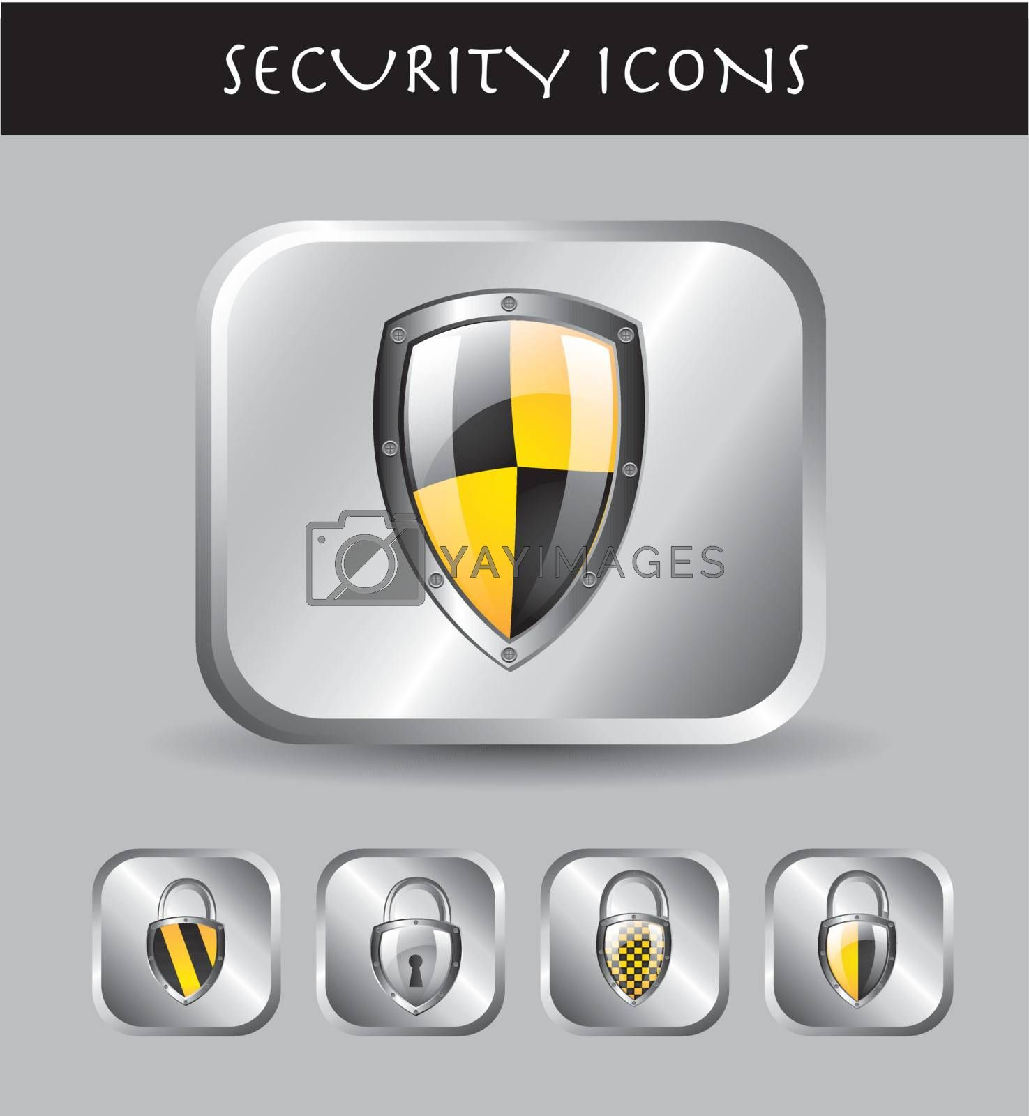 Security icons over chrome background vector illustration