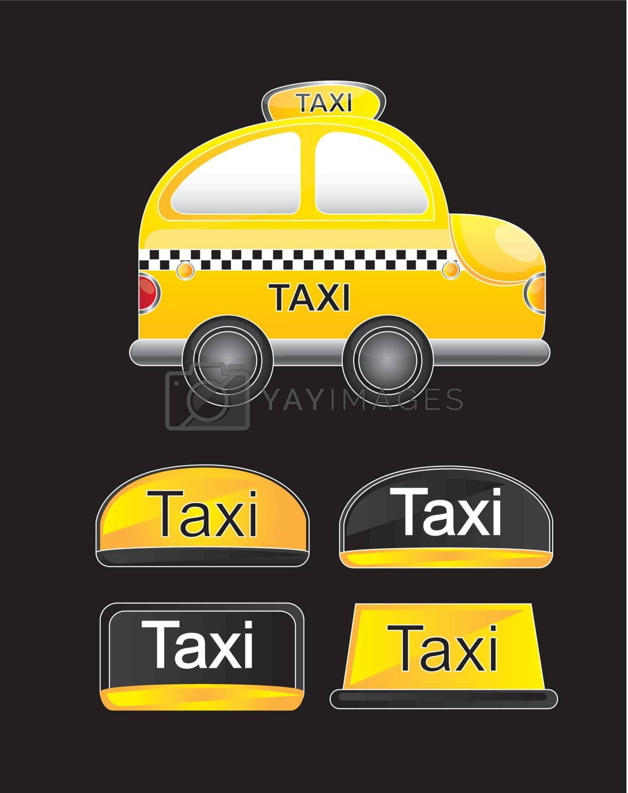 taxi that is dedicated to public transportation over black background