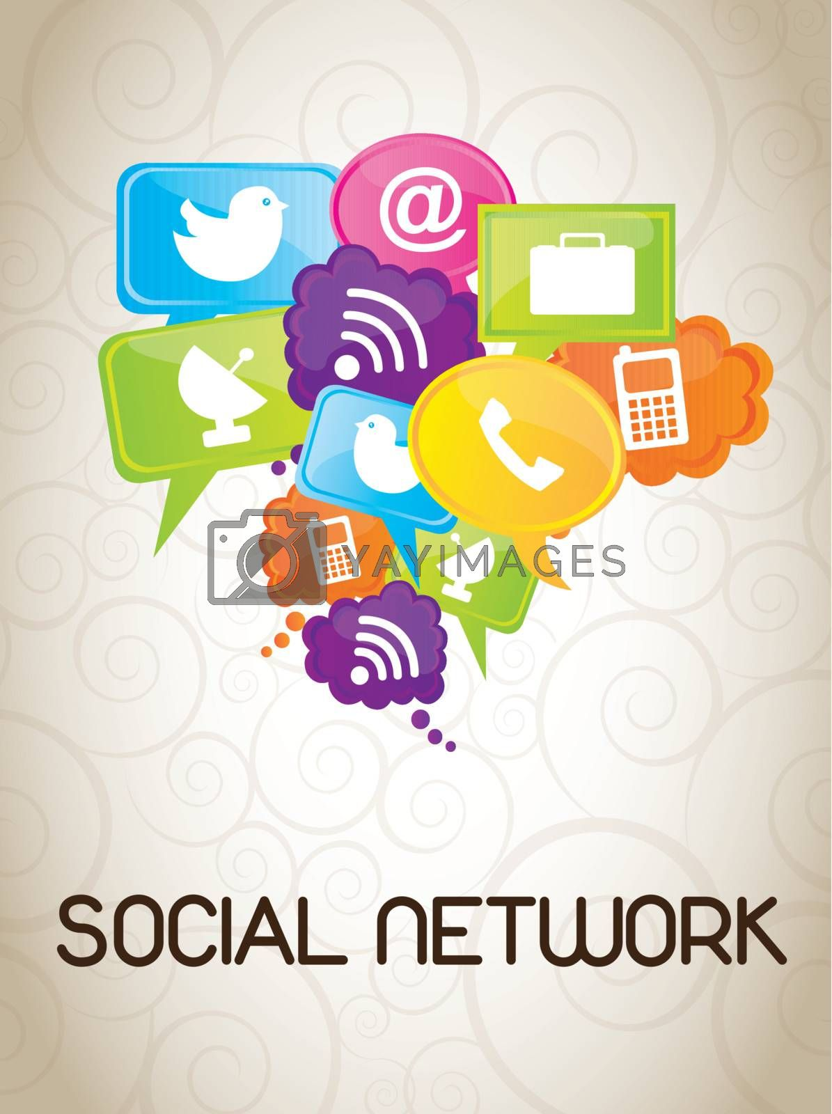 Icons of social network over white background