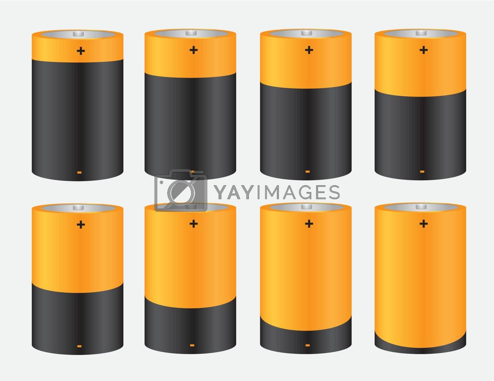 group of yellow batteries with different charge