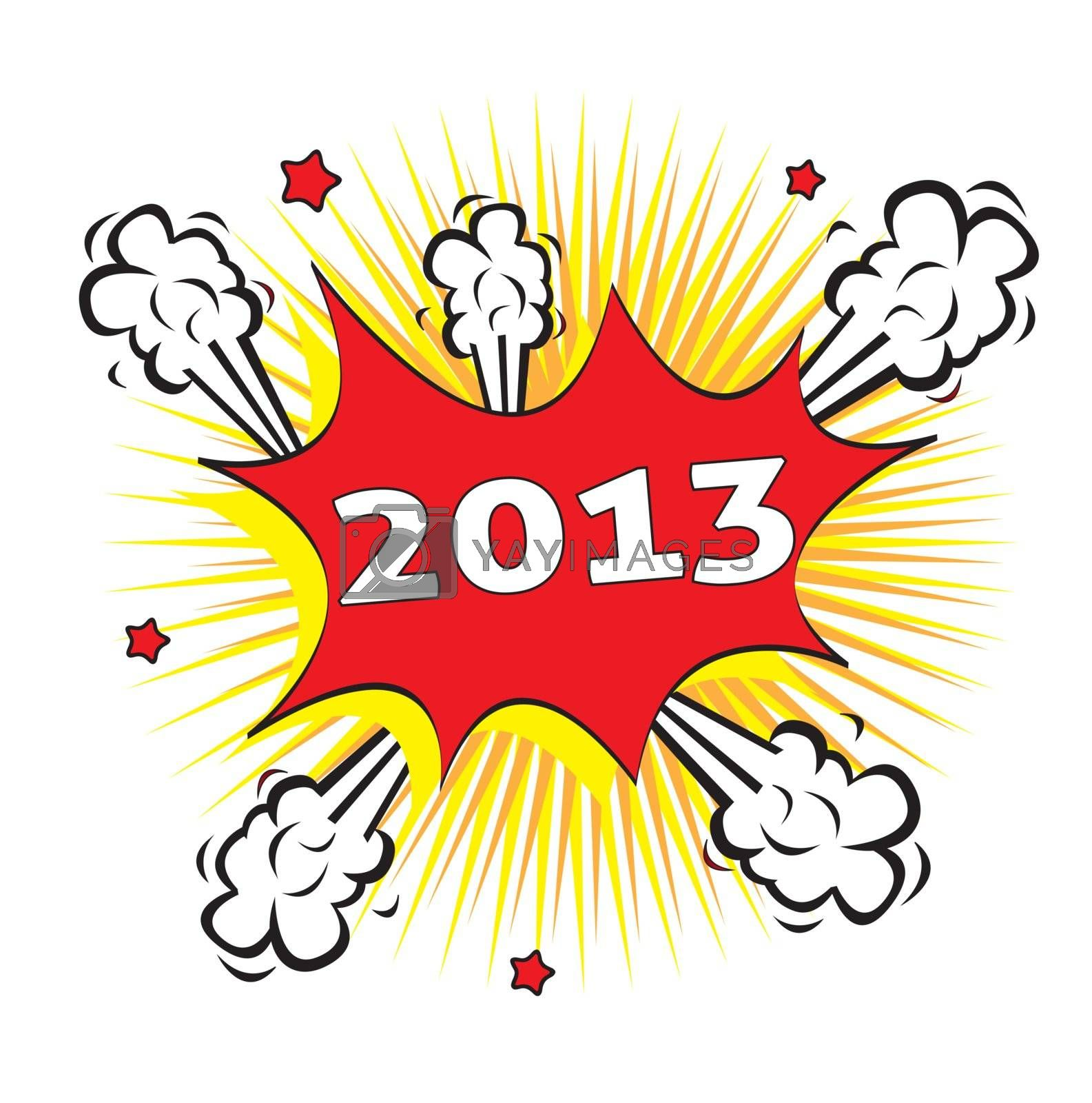 explosion of a new year over white background vector illustration