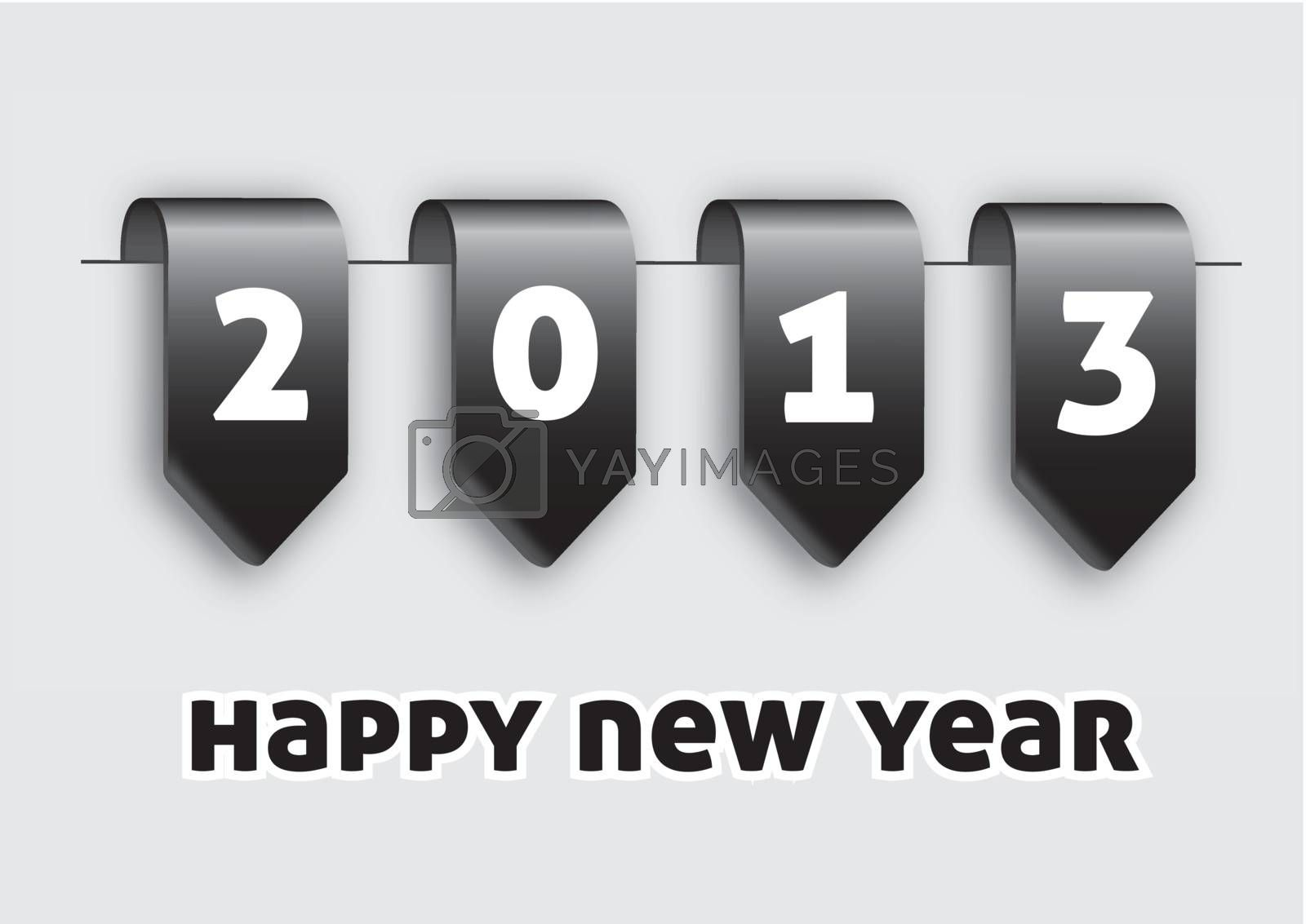 Labels happy new year over white background