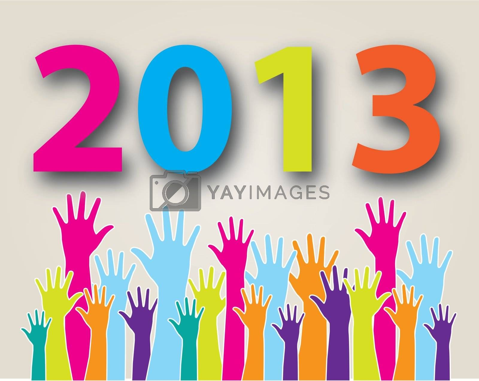hands have reached the new year  over white background