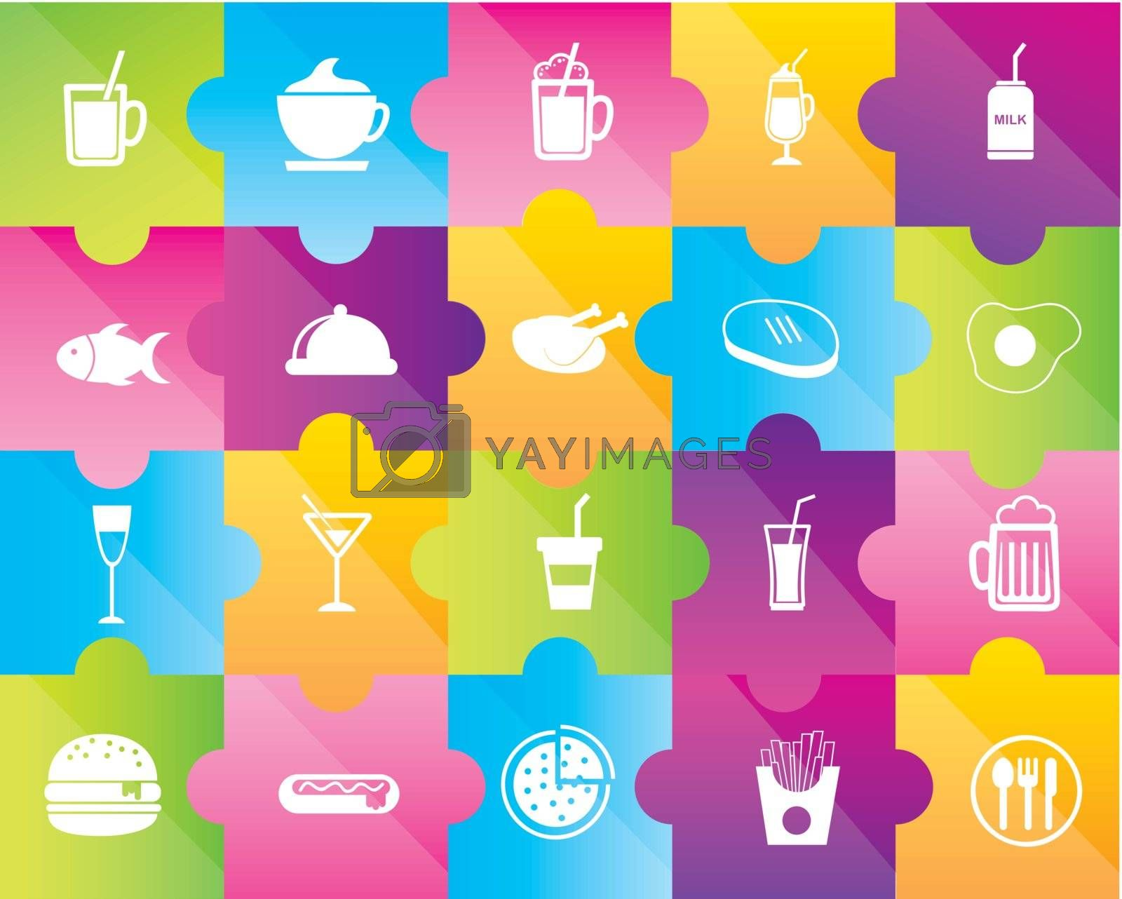 icons of drinks and fast food over colors background
