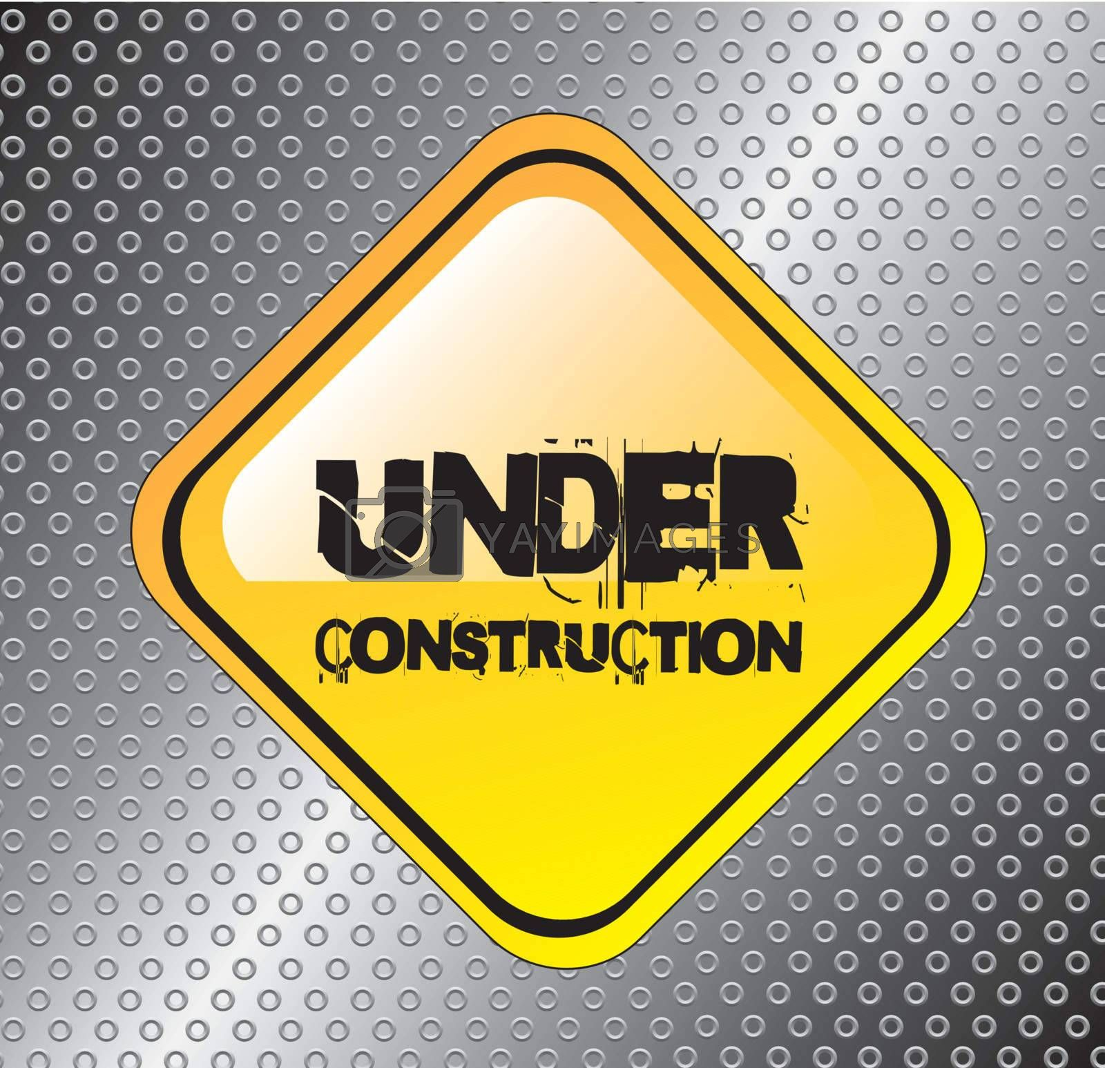 Under construction background over a road signal vector illustration