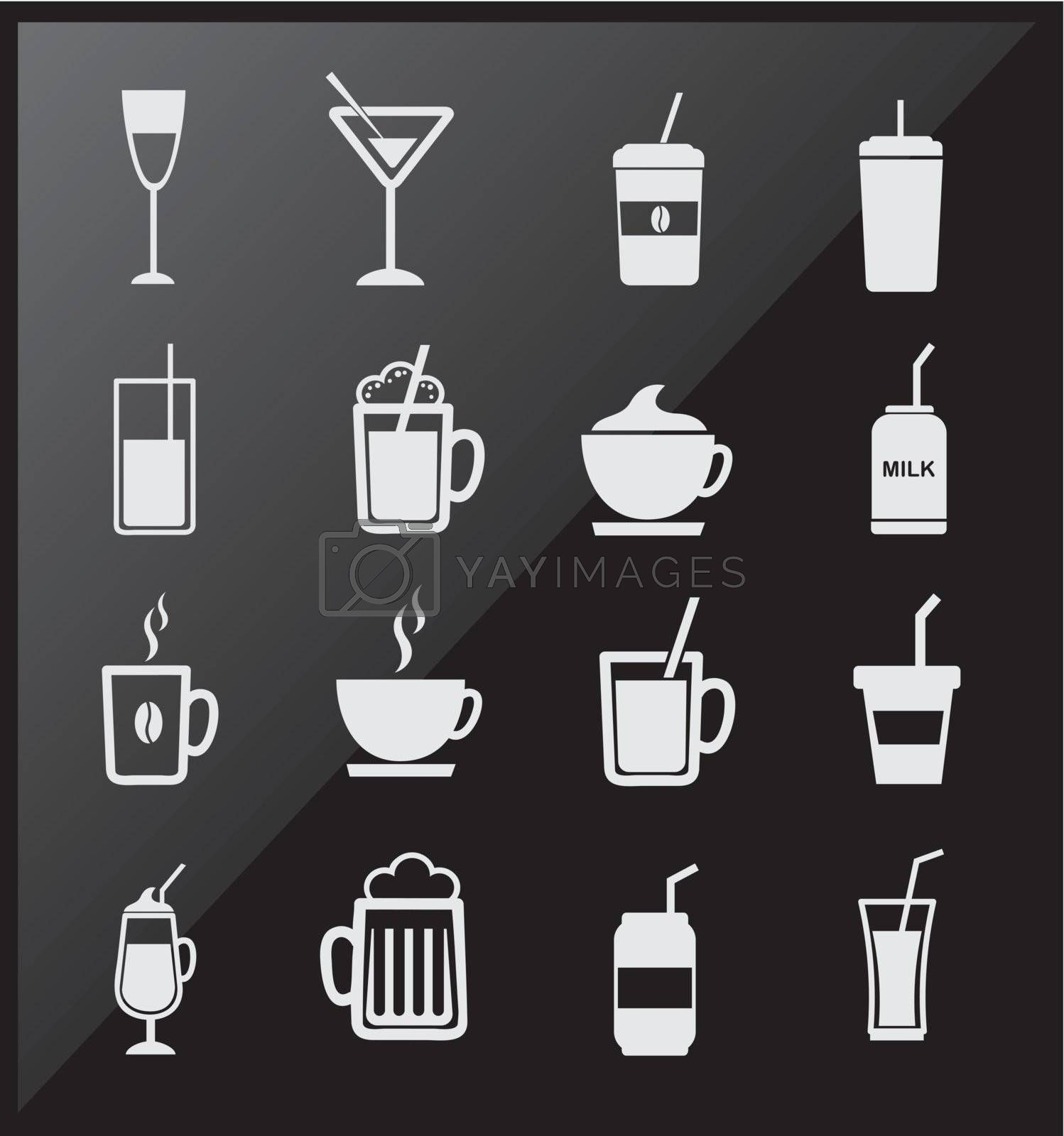 icons of drinks  over black background vector illustration