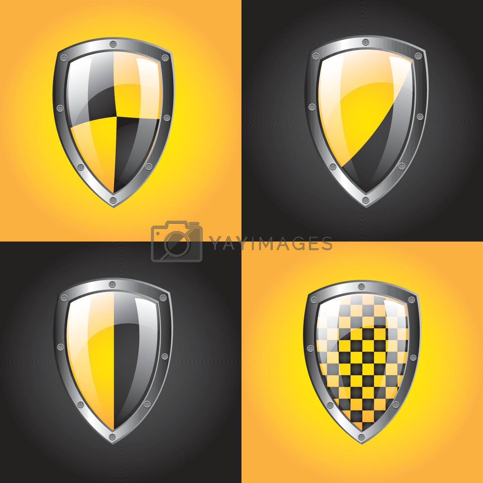 Safety symbol over yellow and black background vector illustration