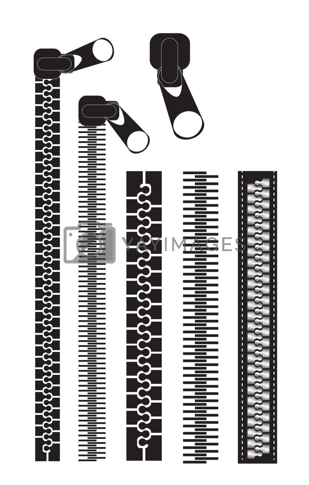 different black zippers over white background vector illustration