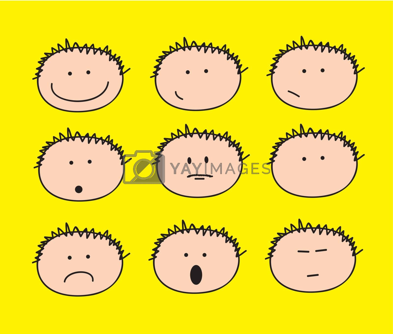 children's faces with different gestures over yellow background
