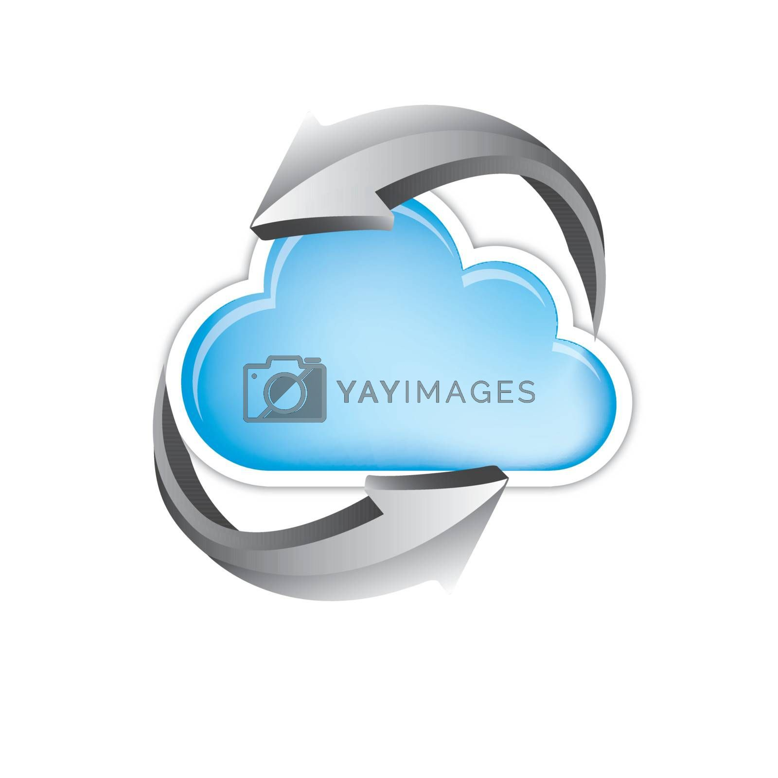 great cloud of information with turning arrows