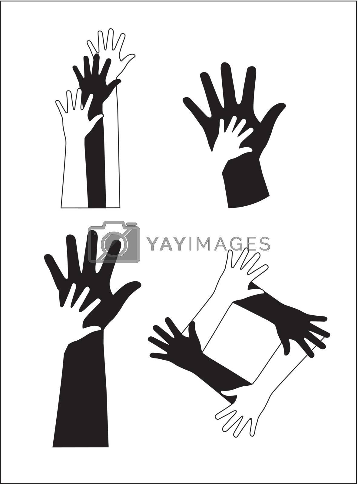 Black and white hands over white background vector illustration