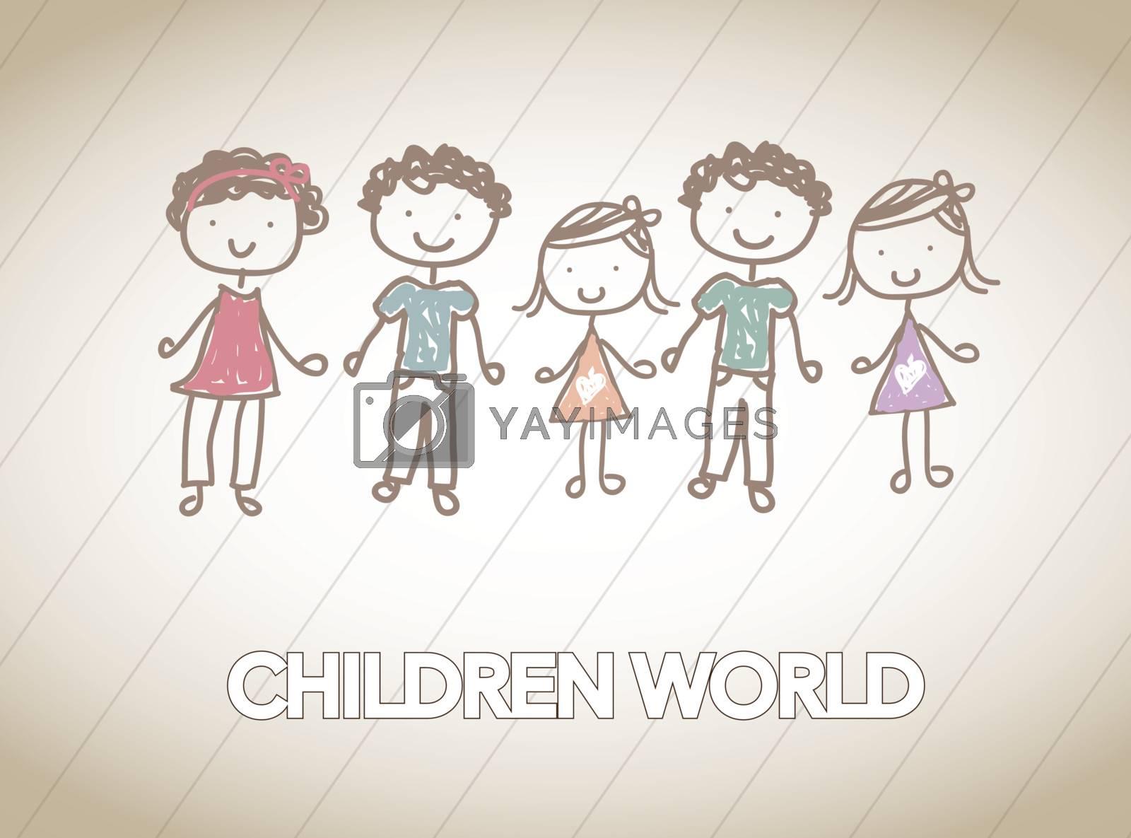 children together in friendship over white background