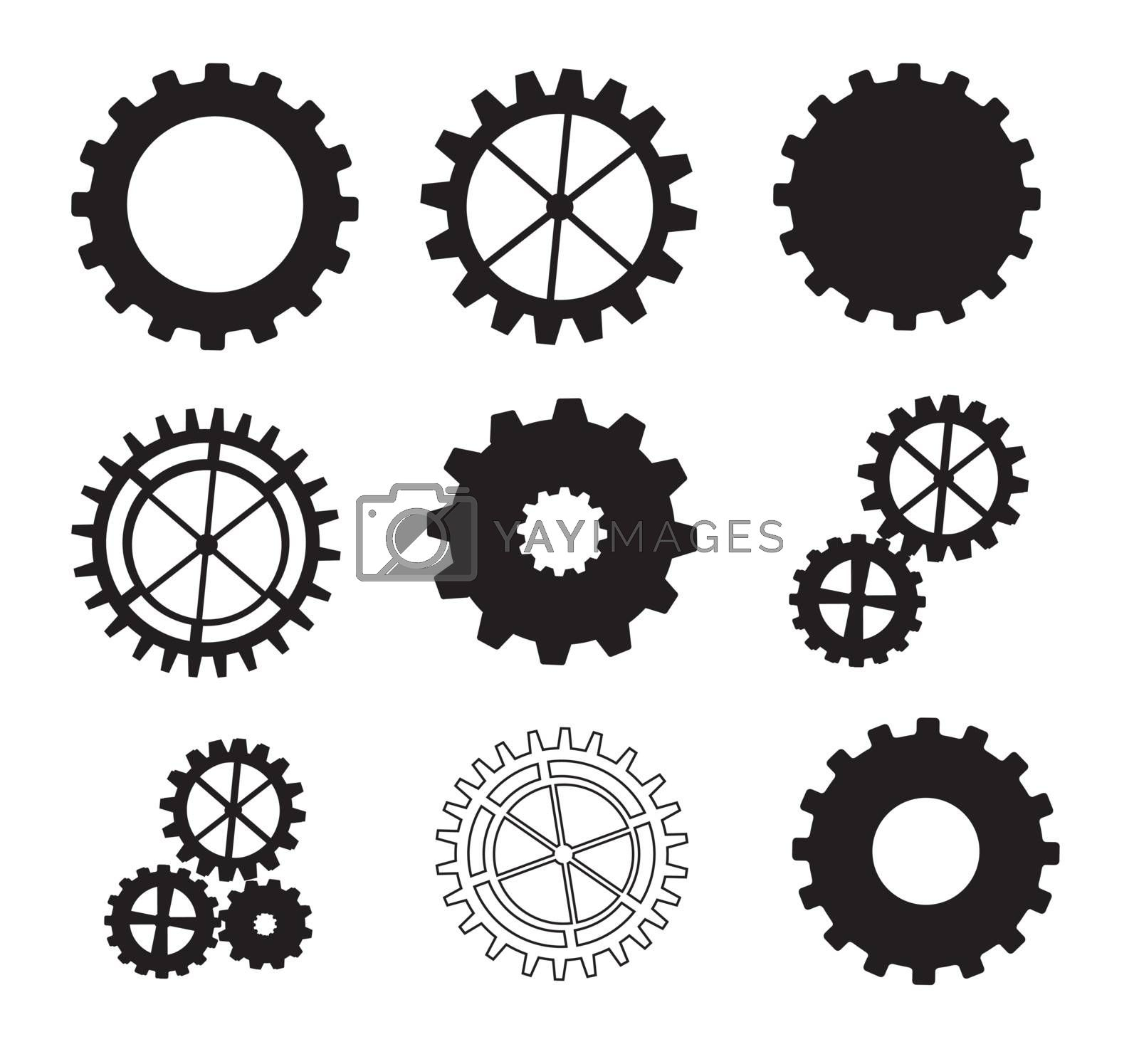 Black and white gears over white background