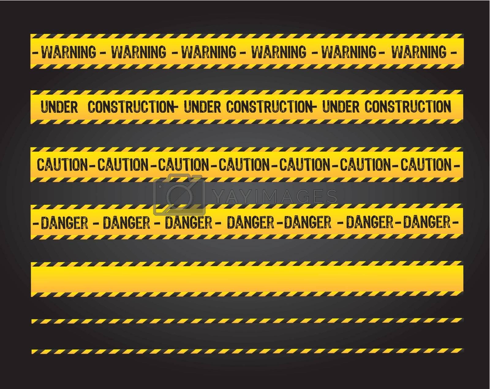caution lines over black background vector illustration