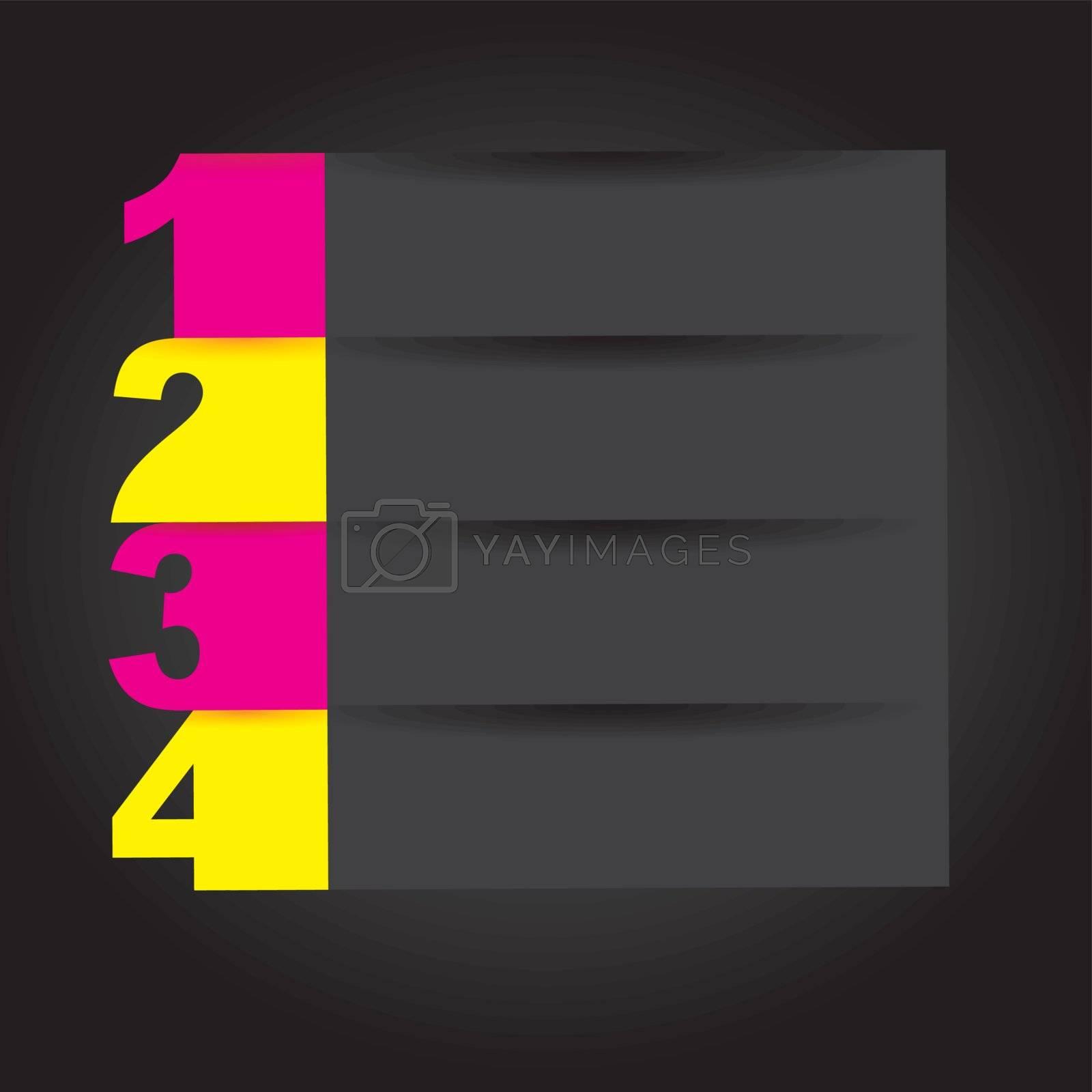 Number template over black background vector illustration