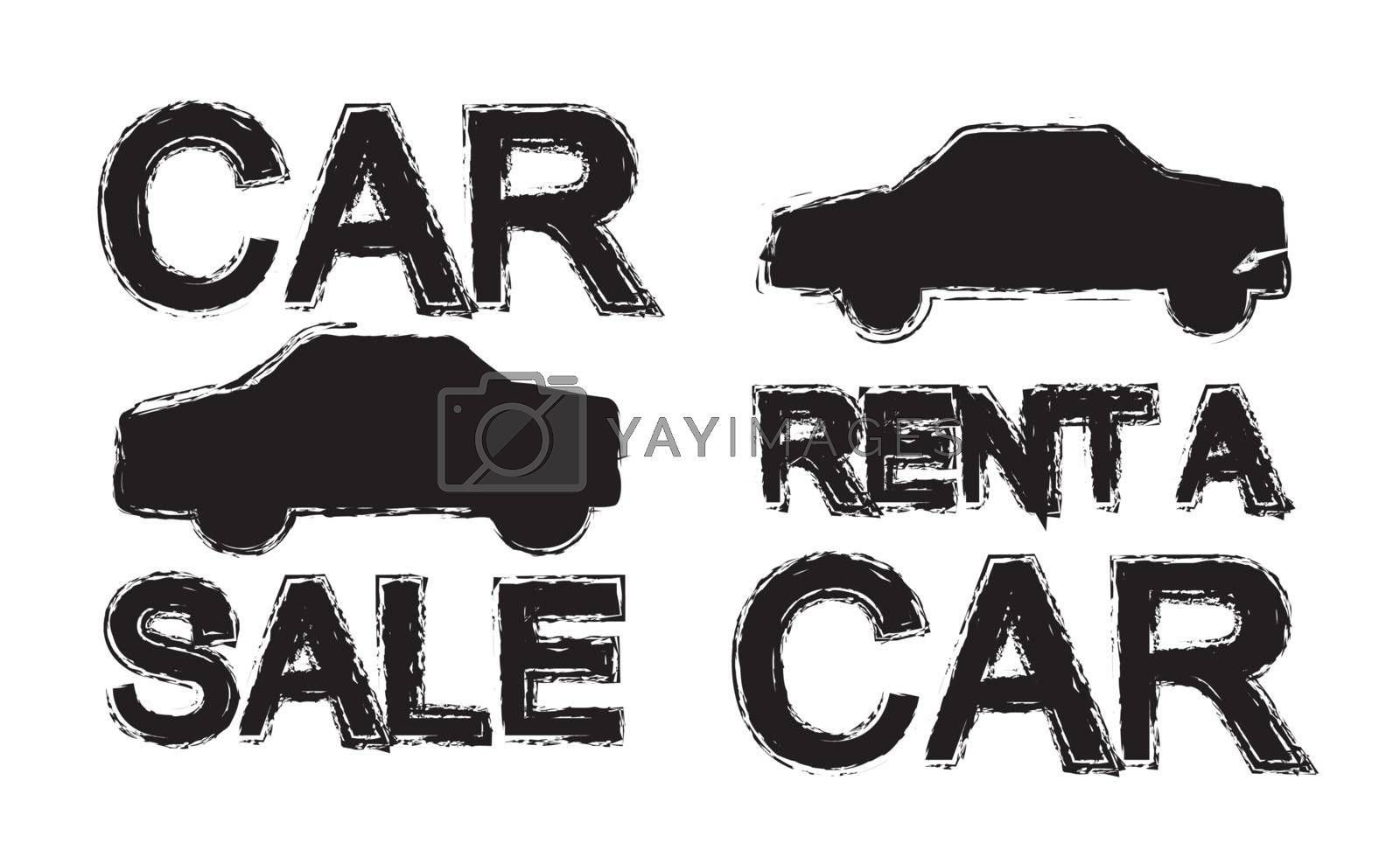 promotion silhouettes car renta and car sale over white background