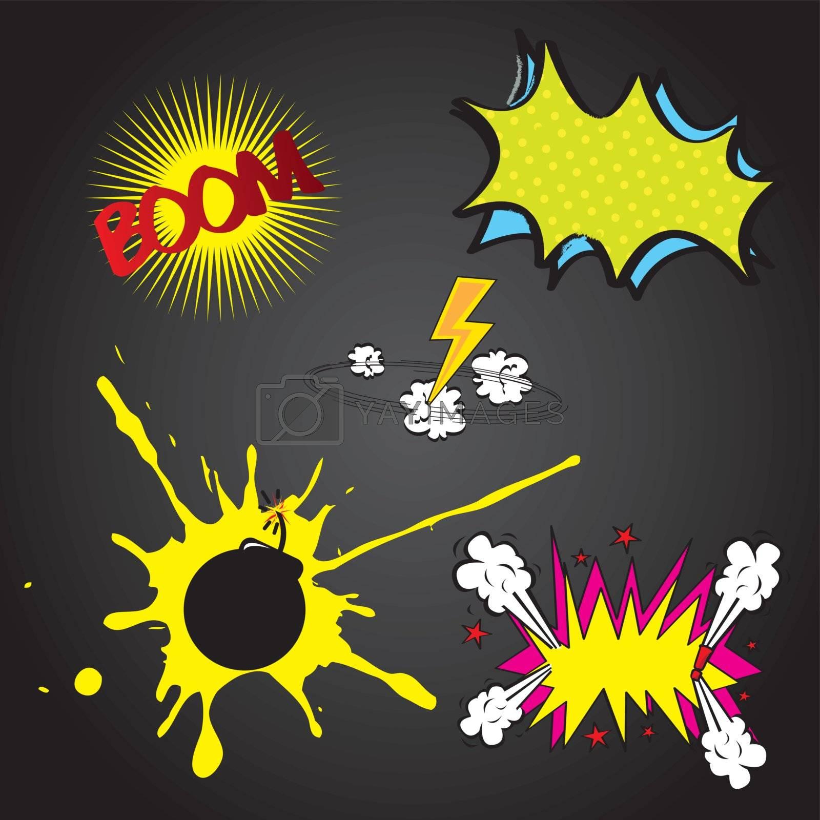 Set boom comic over black background vector illustration