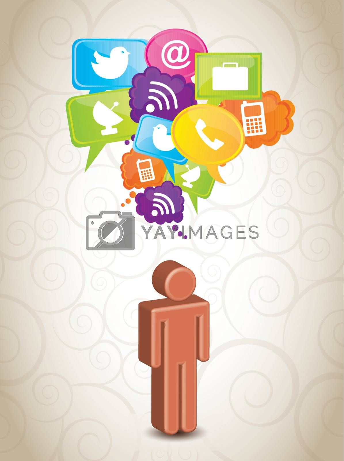 man with communication icons over white background vector illustration