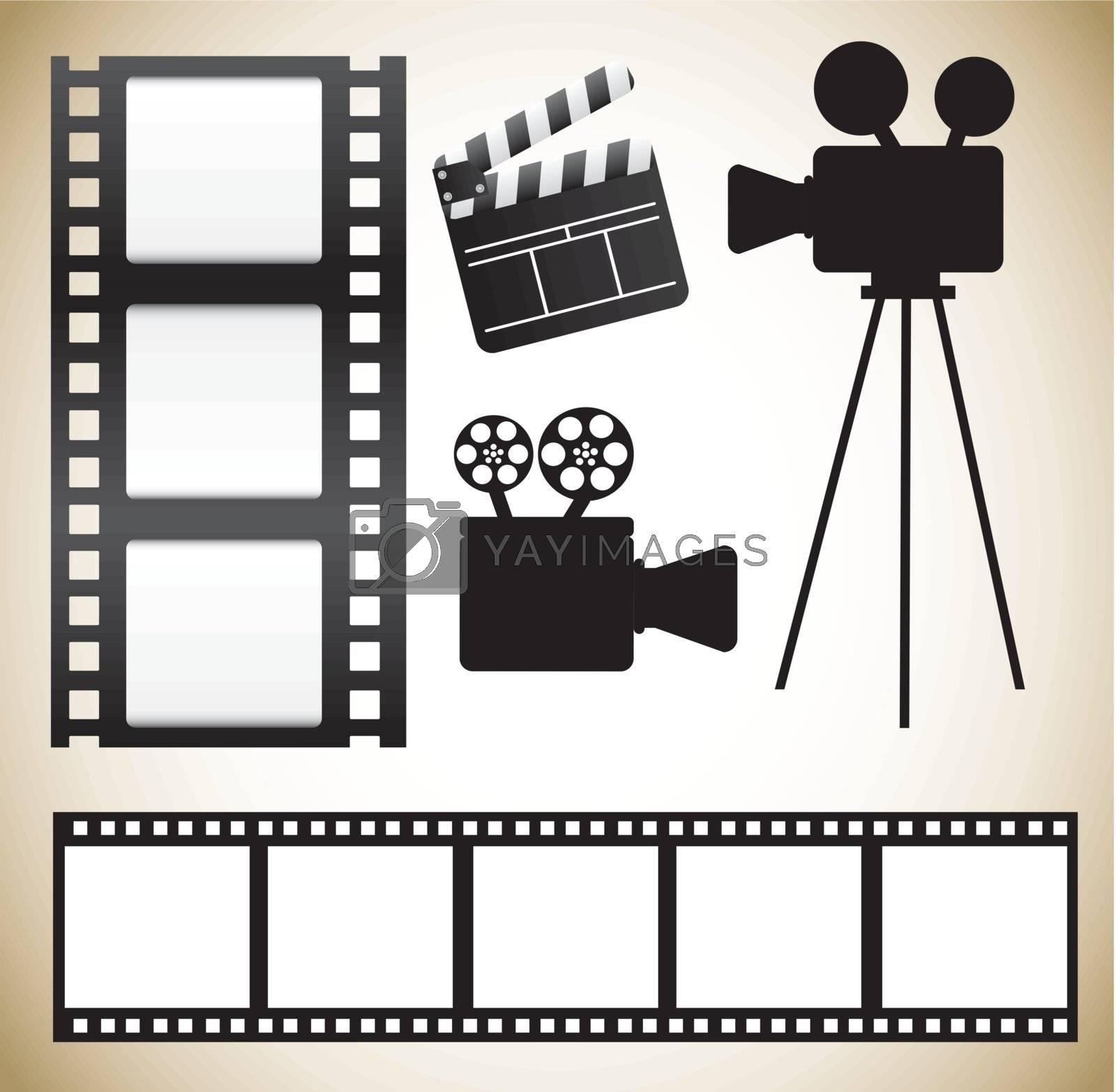 Cinema icons over white background vector illustration