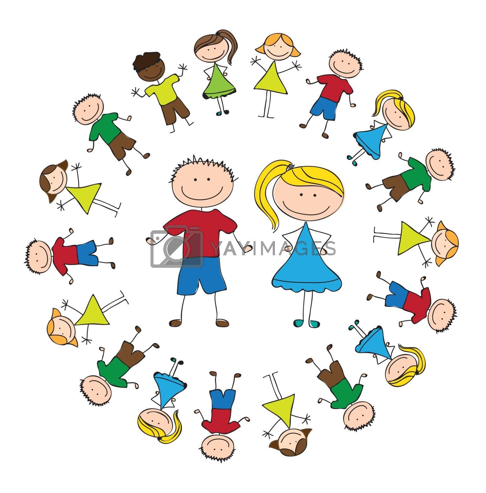 united childrens over white background vector illustration
