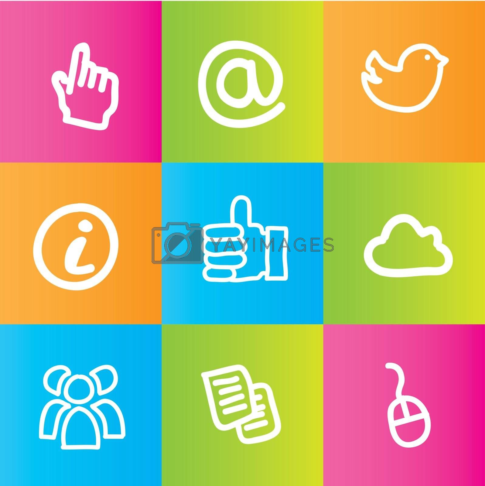 Communications icons over colors background vector illustration