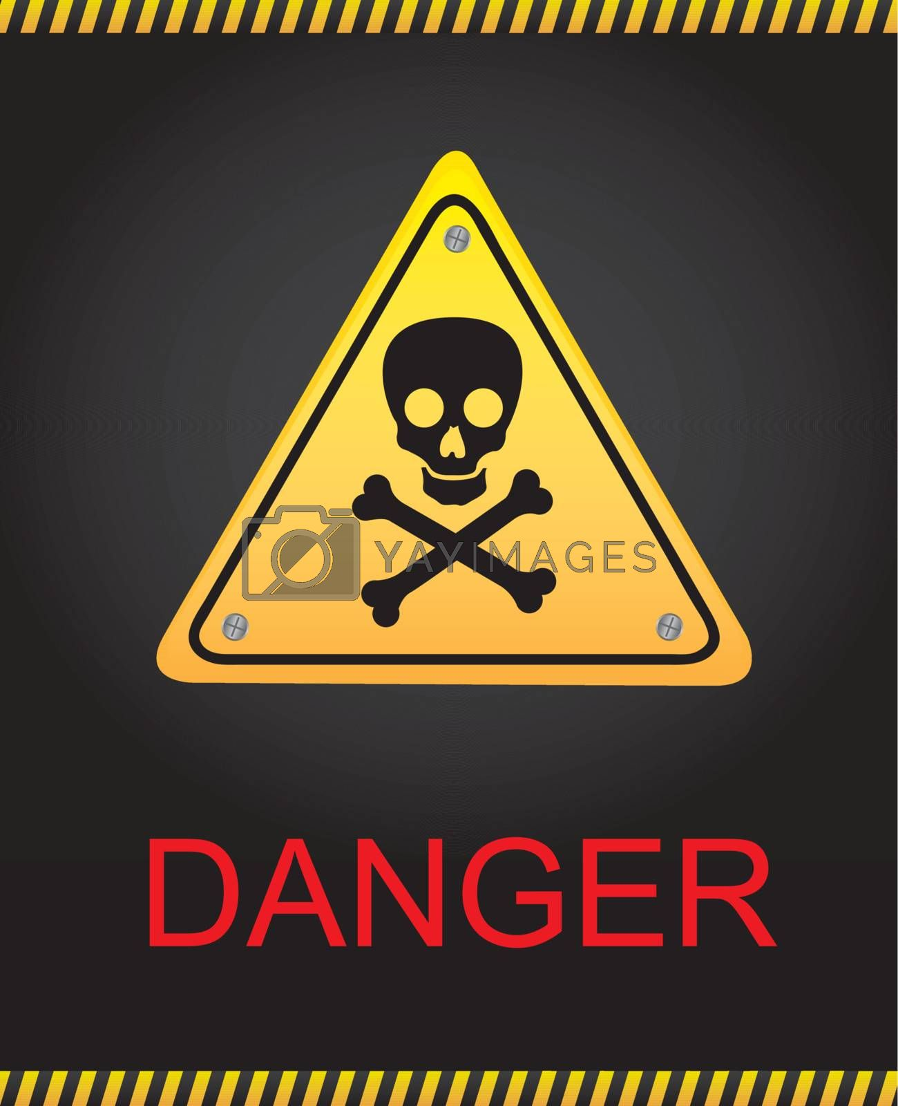 Signal of danger with a skull over black background