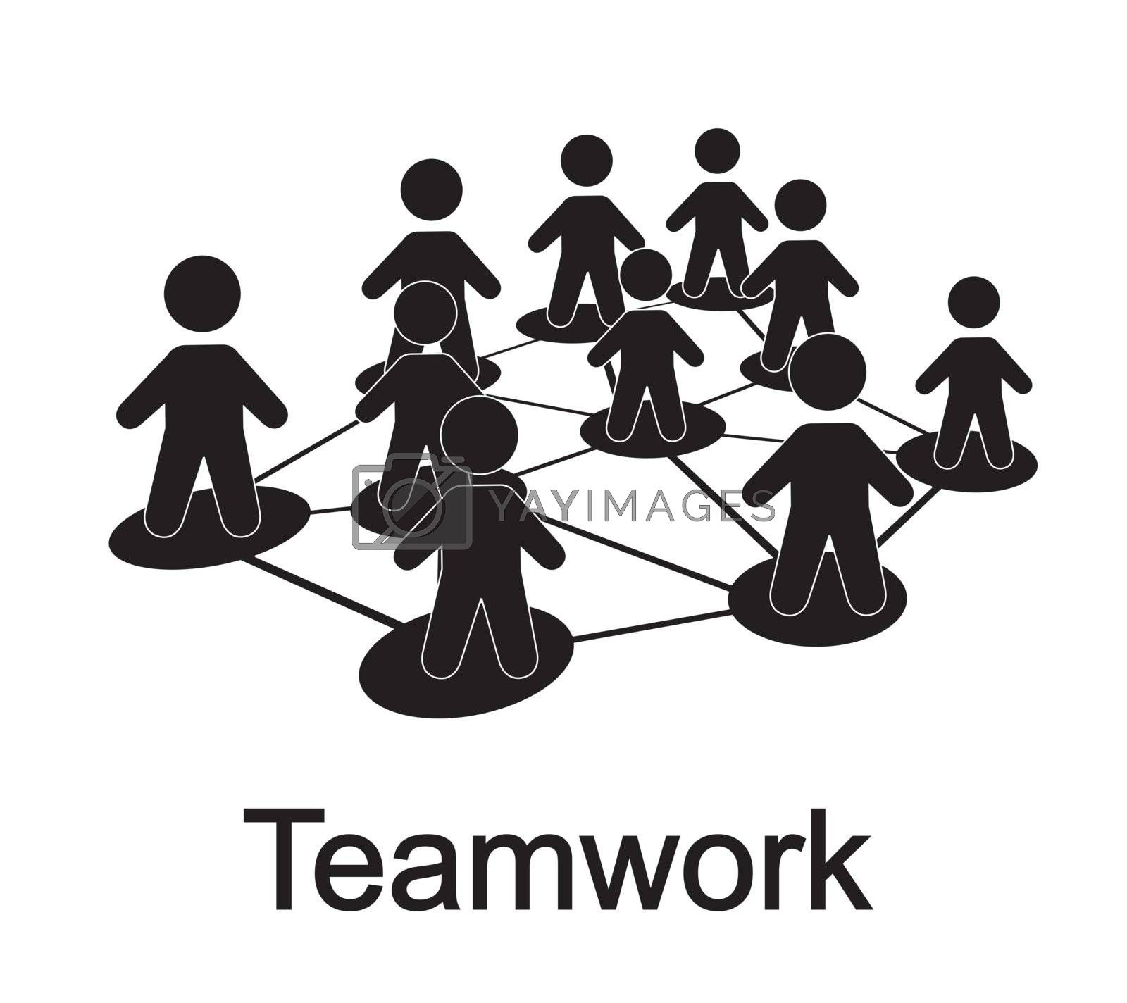 men forming a teamwork over white background