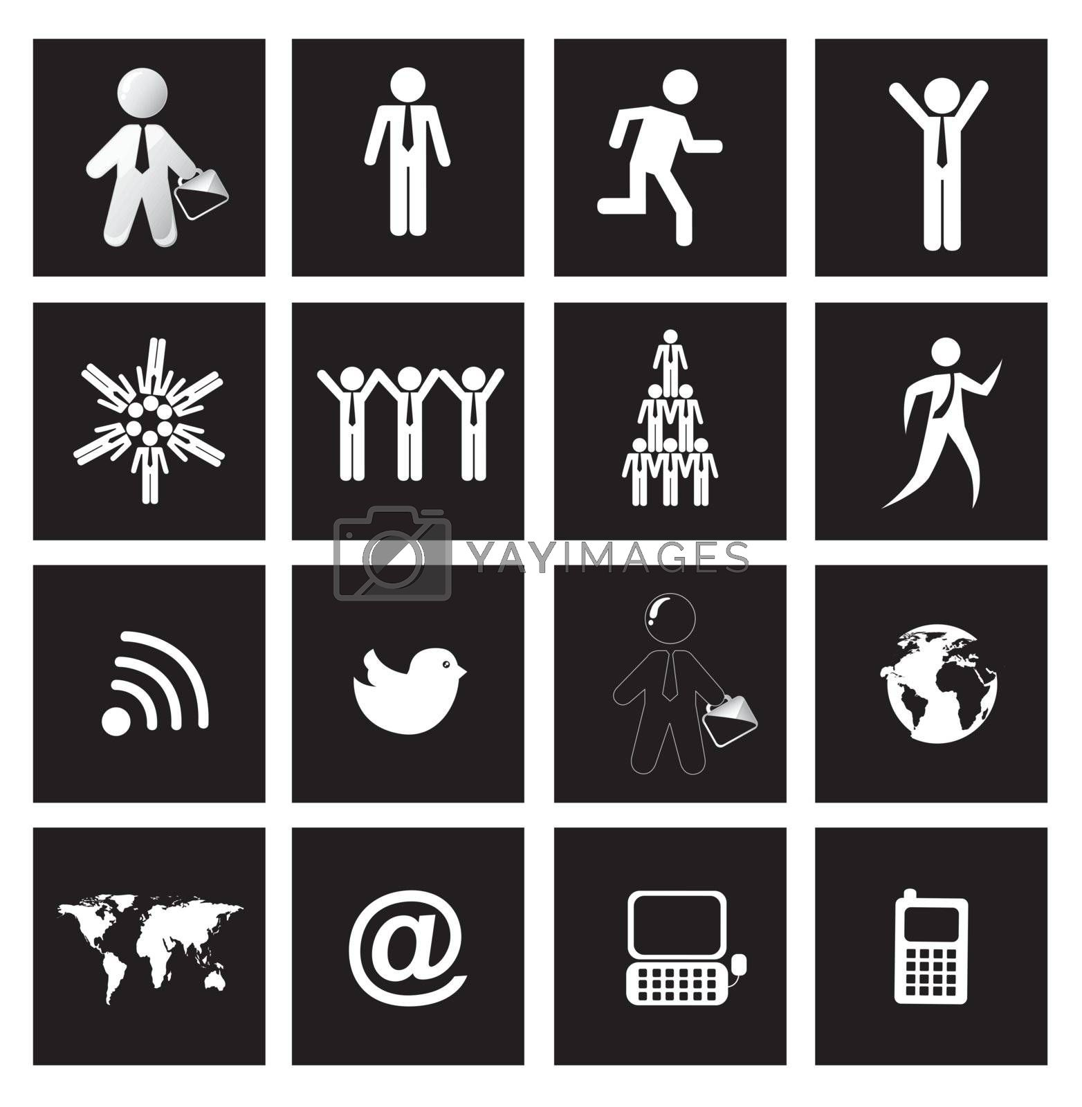 People, earth and communications icons over squares background