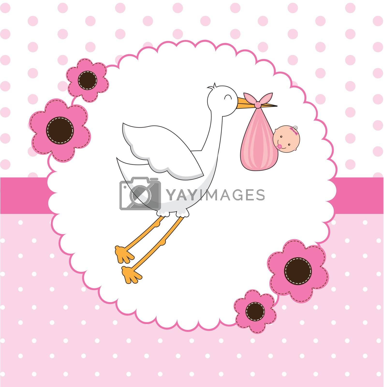 stork with a baby in her pouch vector illustration