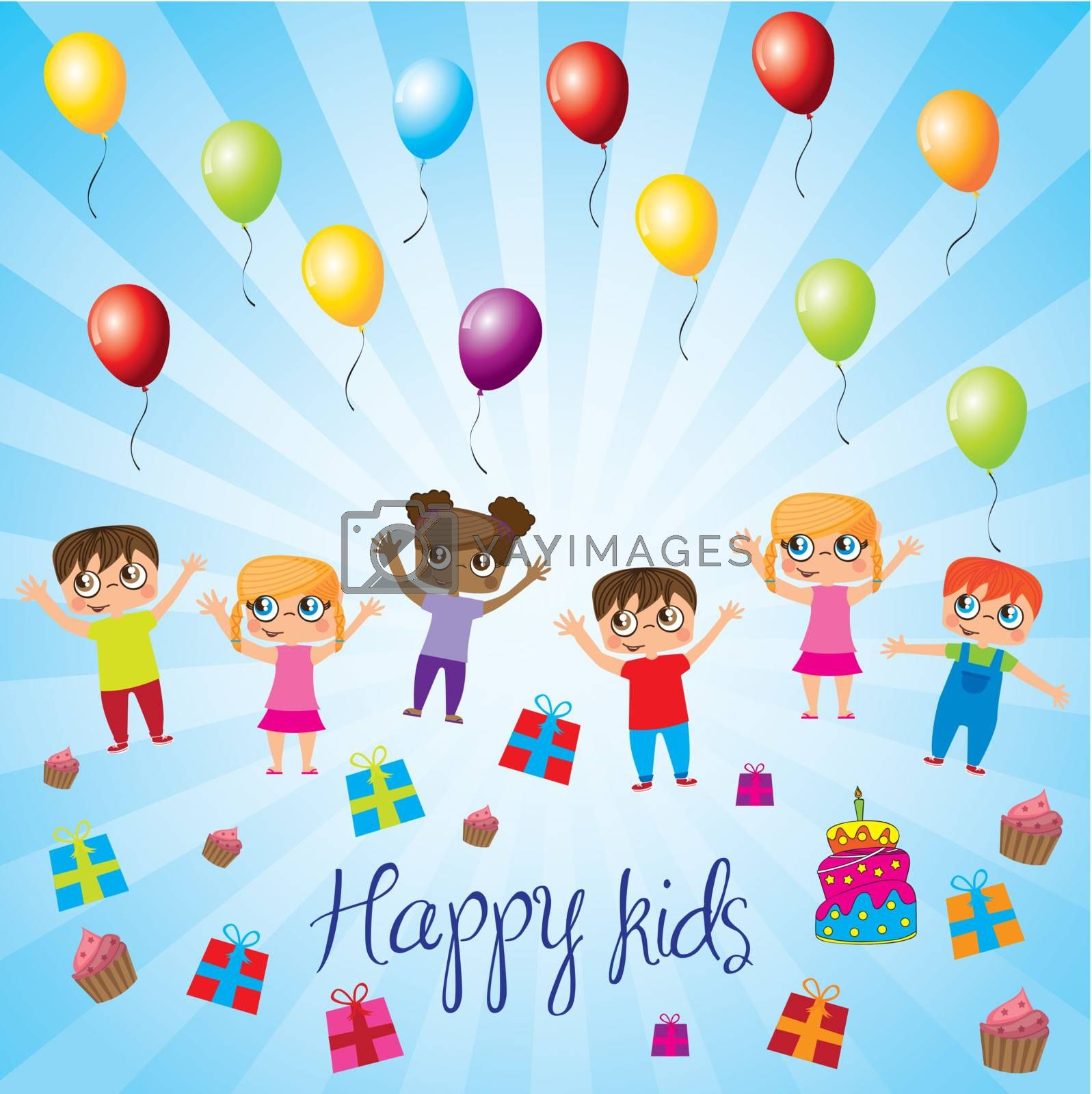 Happy kids with balloons,gift and cake over blue background