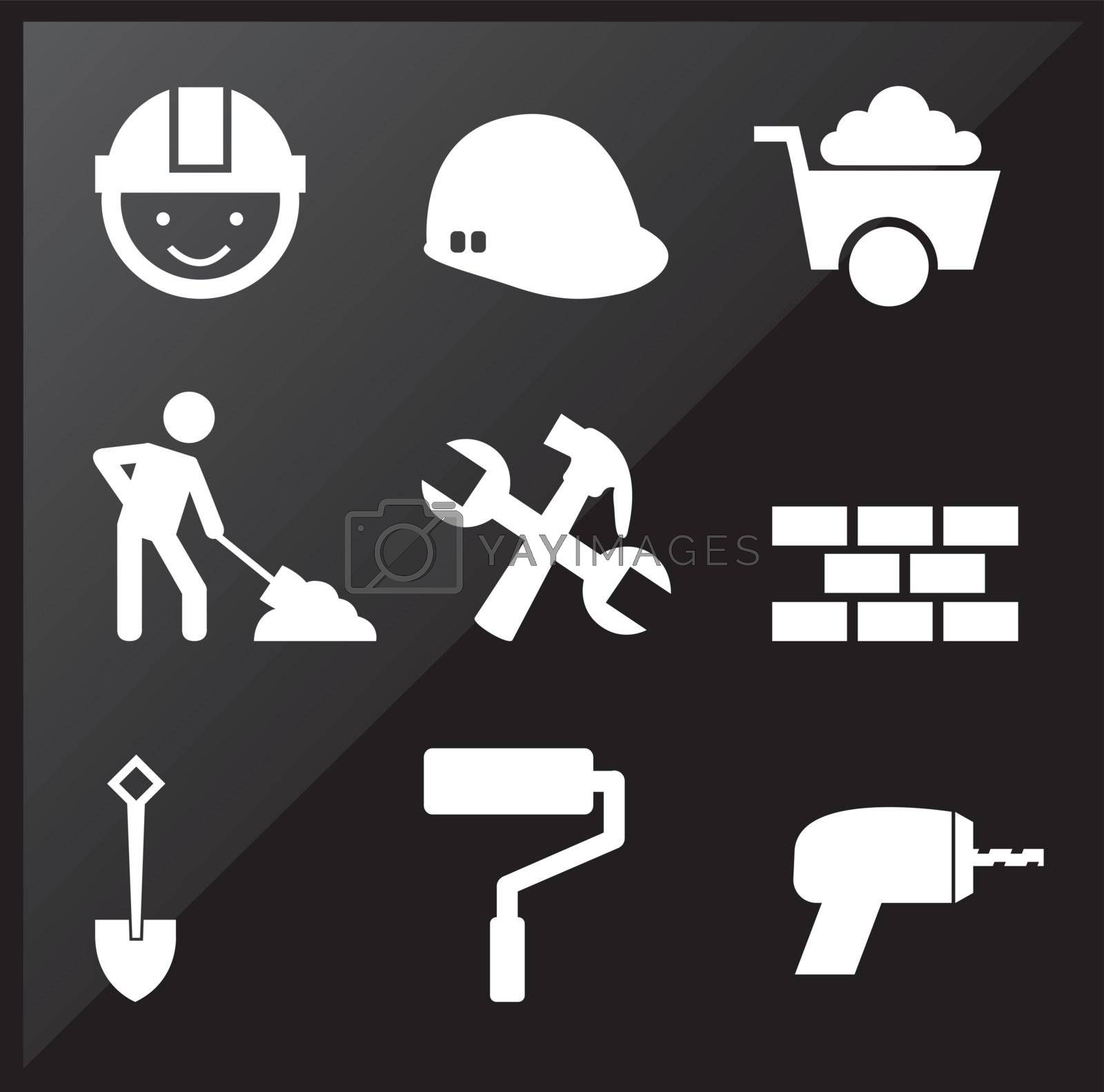 under construction icons over black background
