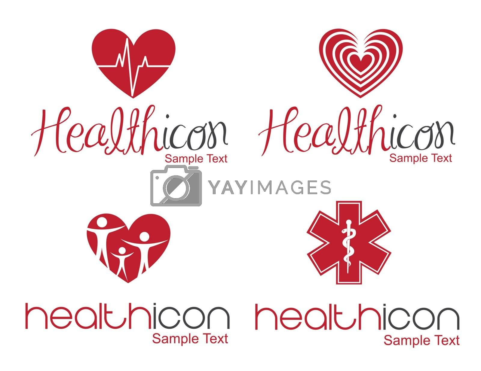 different Health icon over white background