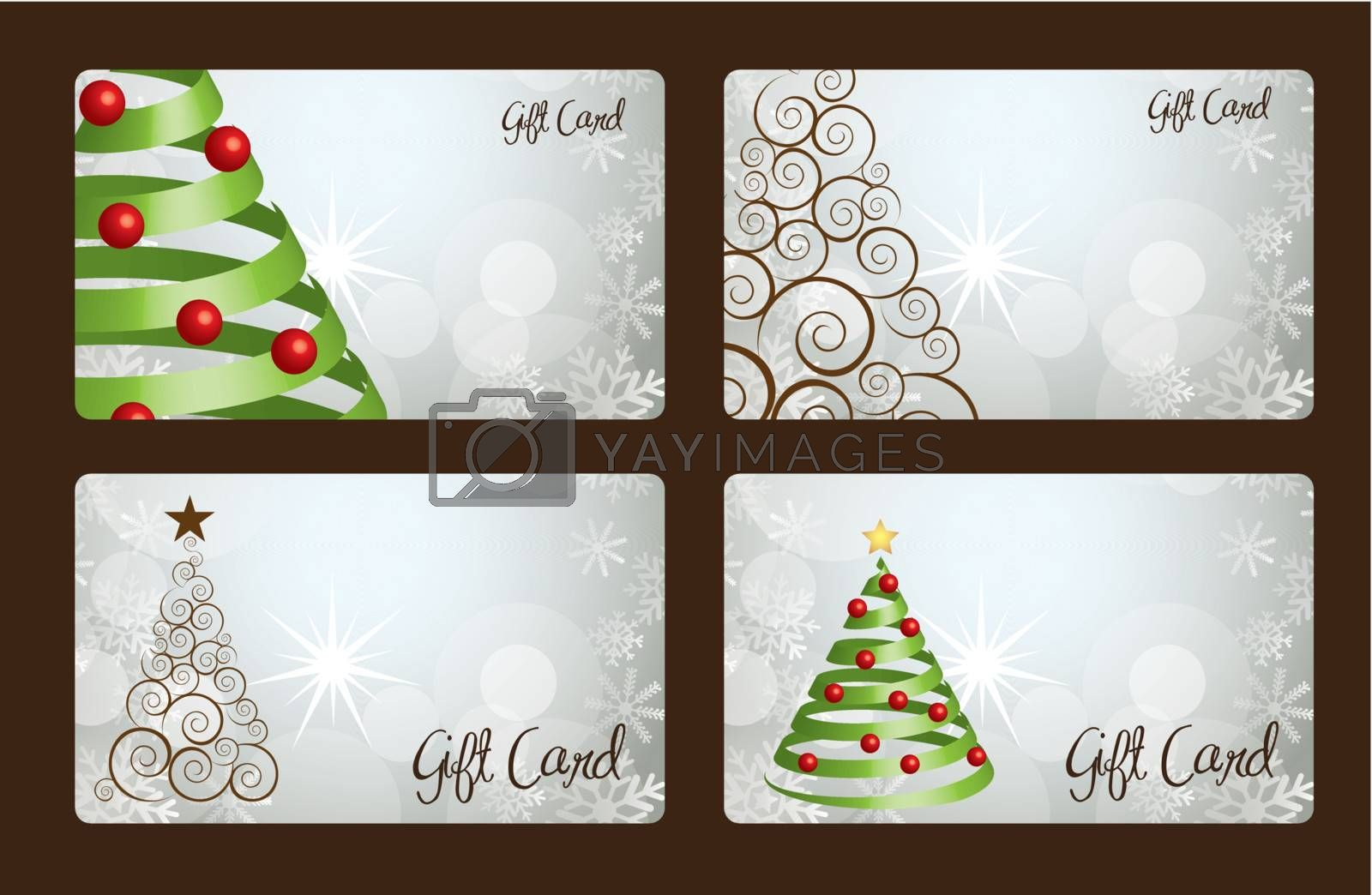 Christmas gift cards with Christmas tree vector illustration