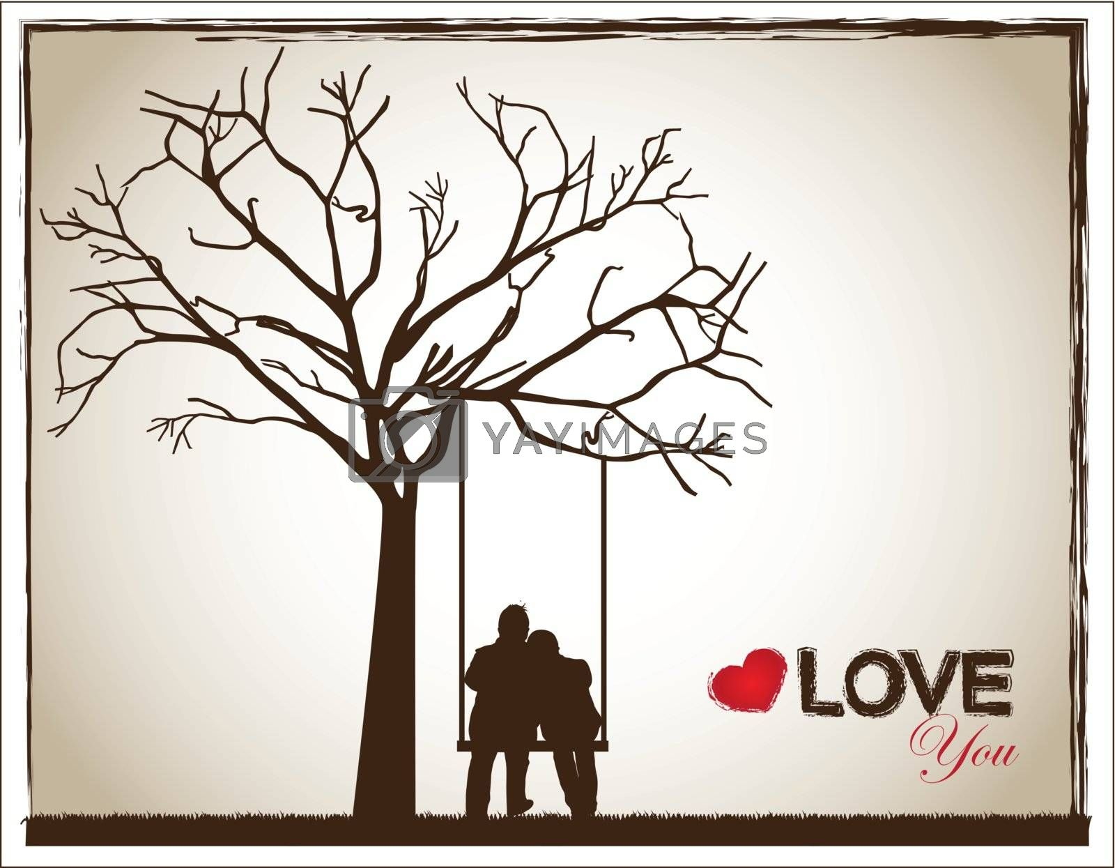a couple on a swing under a tree as a sign of love