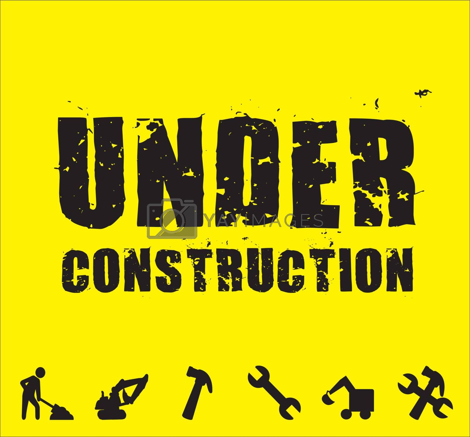 under construction tools over yellow background
