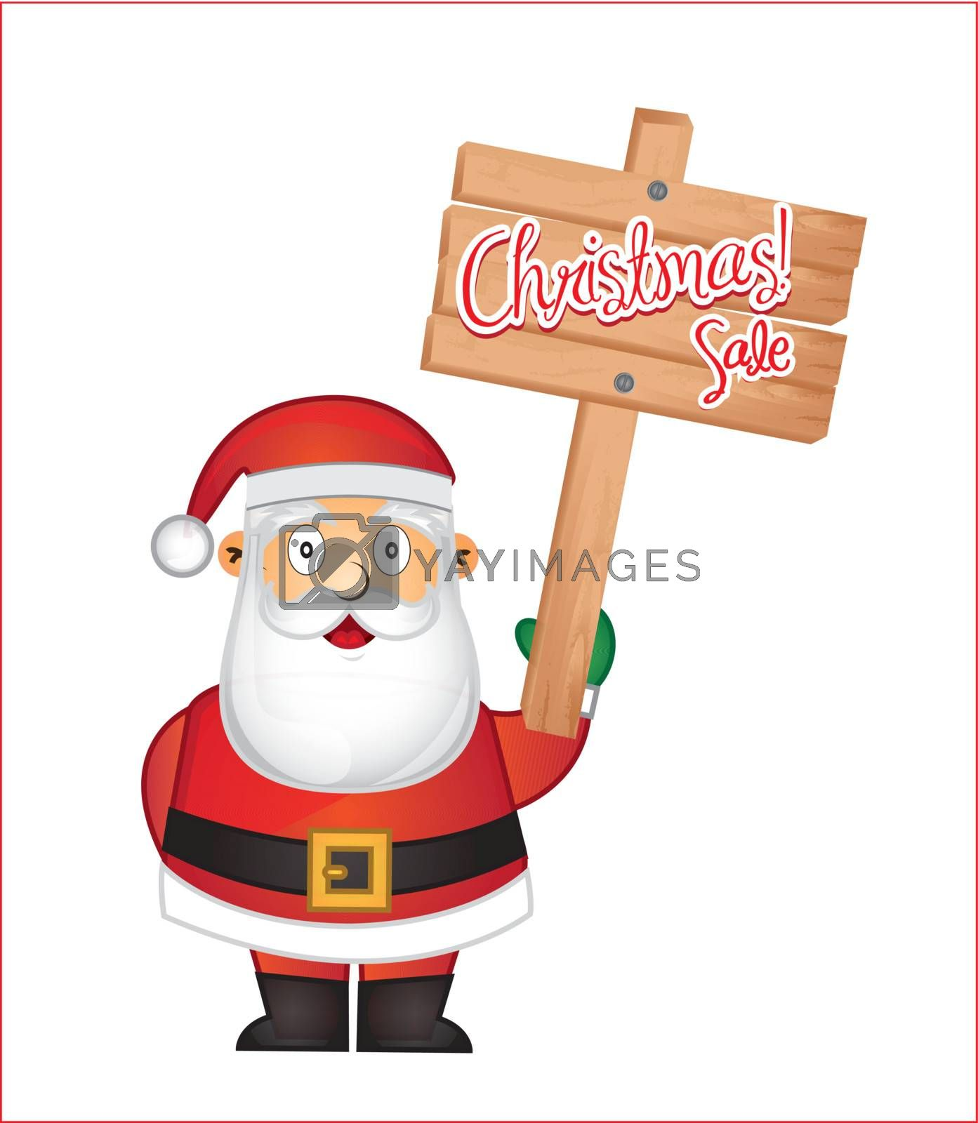 Beautiful Santa Claus with a sale signal  in his hand