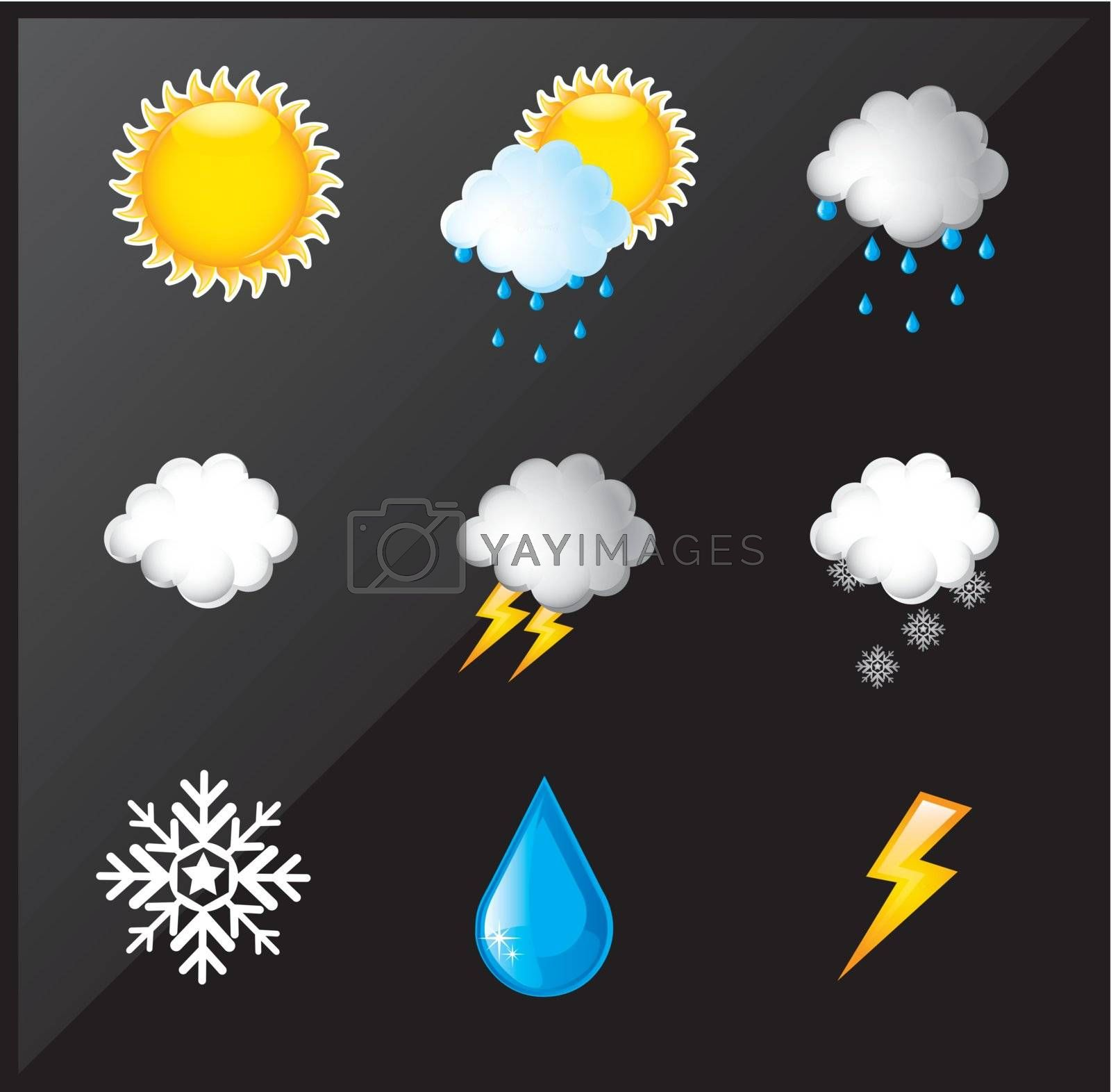 weather differents over black background vector illustration