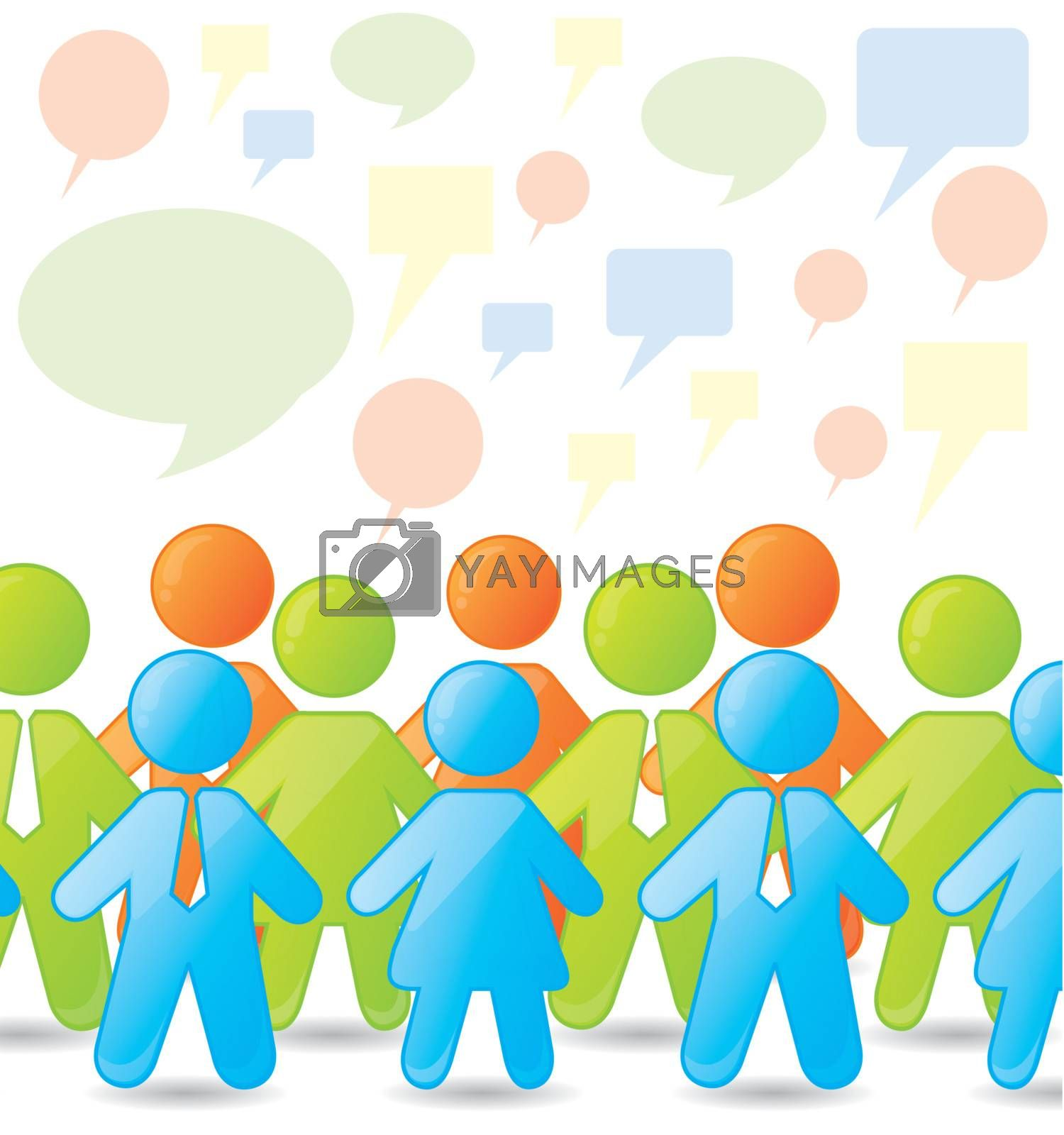 Business people over white and bubble background