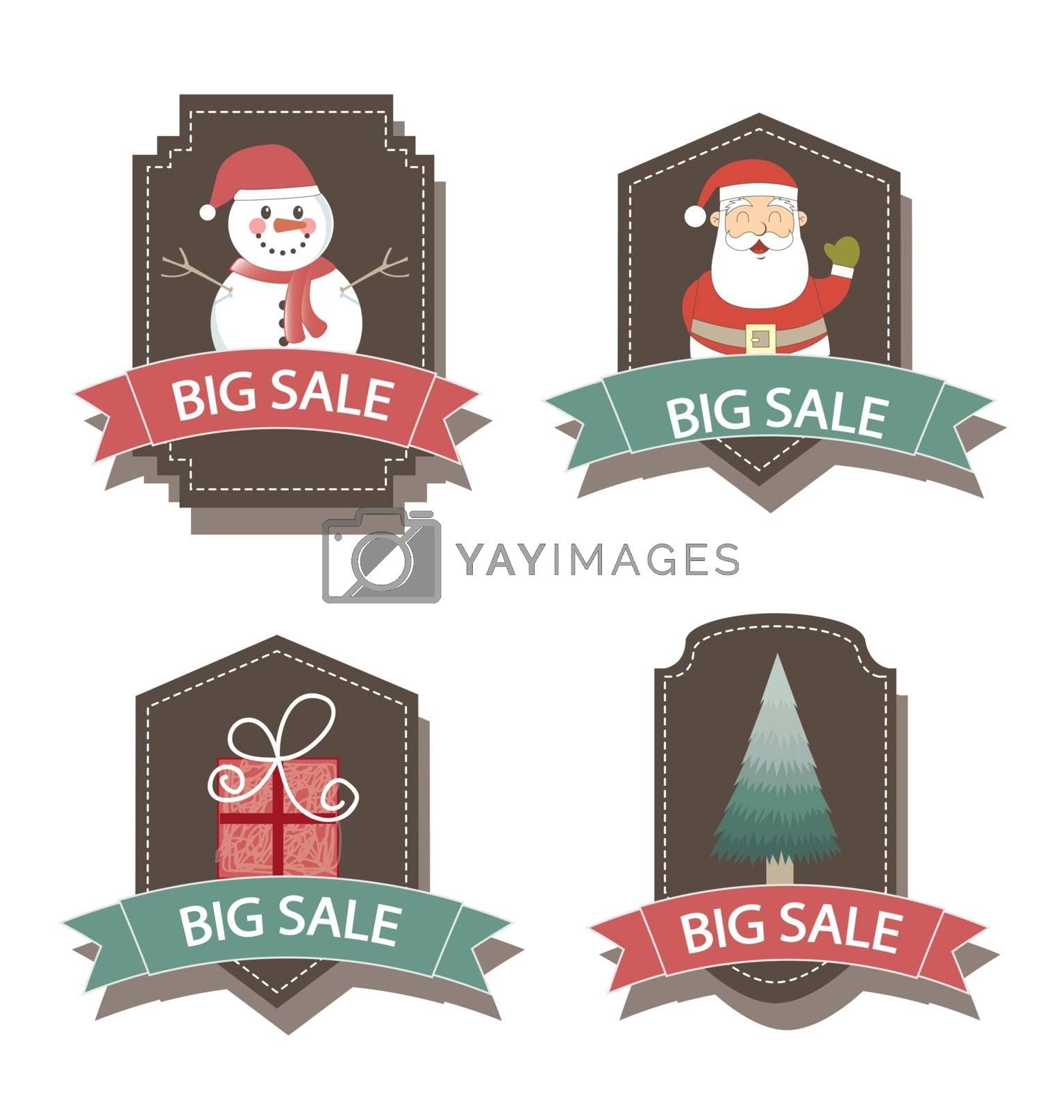 Christmas labels with gifts, Santa Claus and snowmen