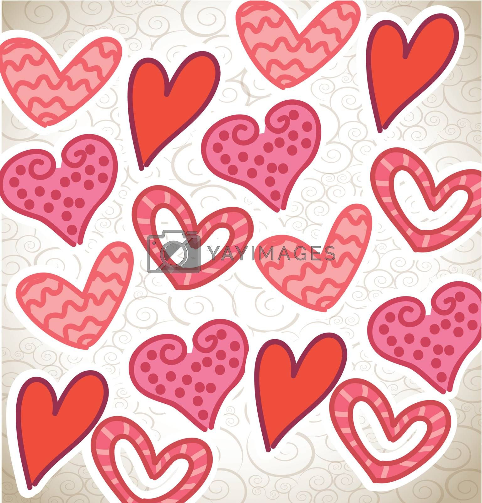 Love background with pink and red hearts vector illustration