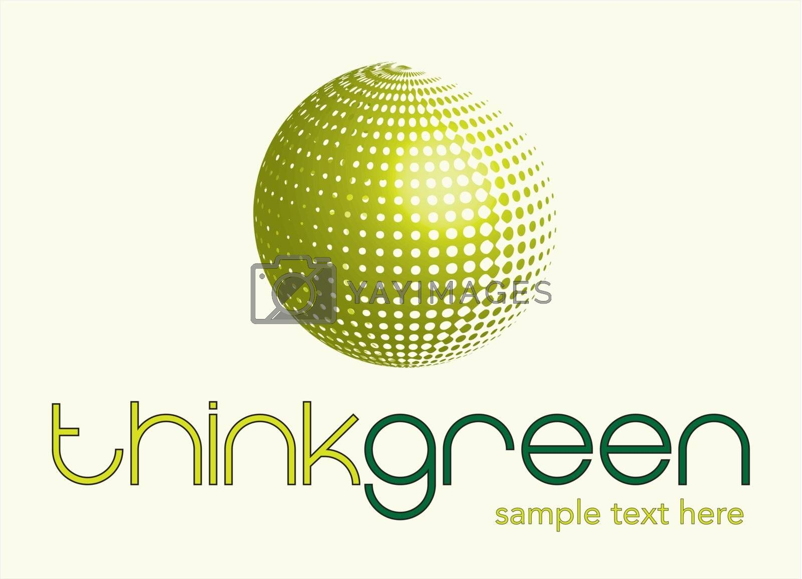 Think green background over white background vector illustration
