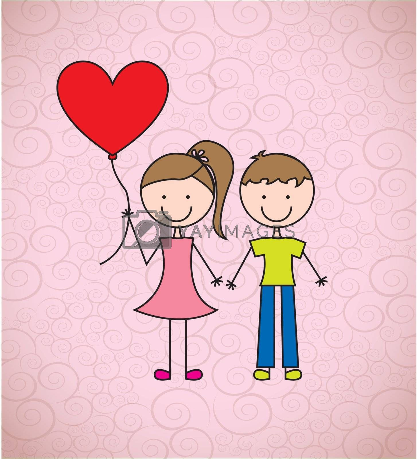 love card with childrens to celebrate valentines day vector illustration