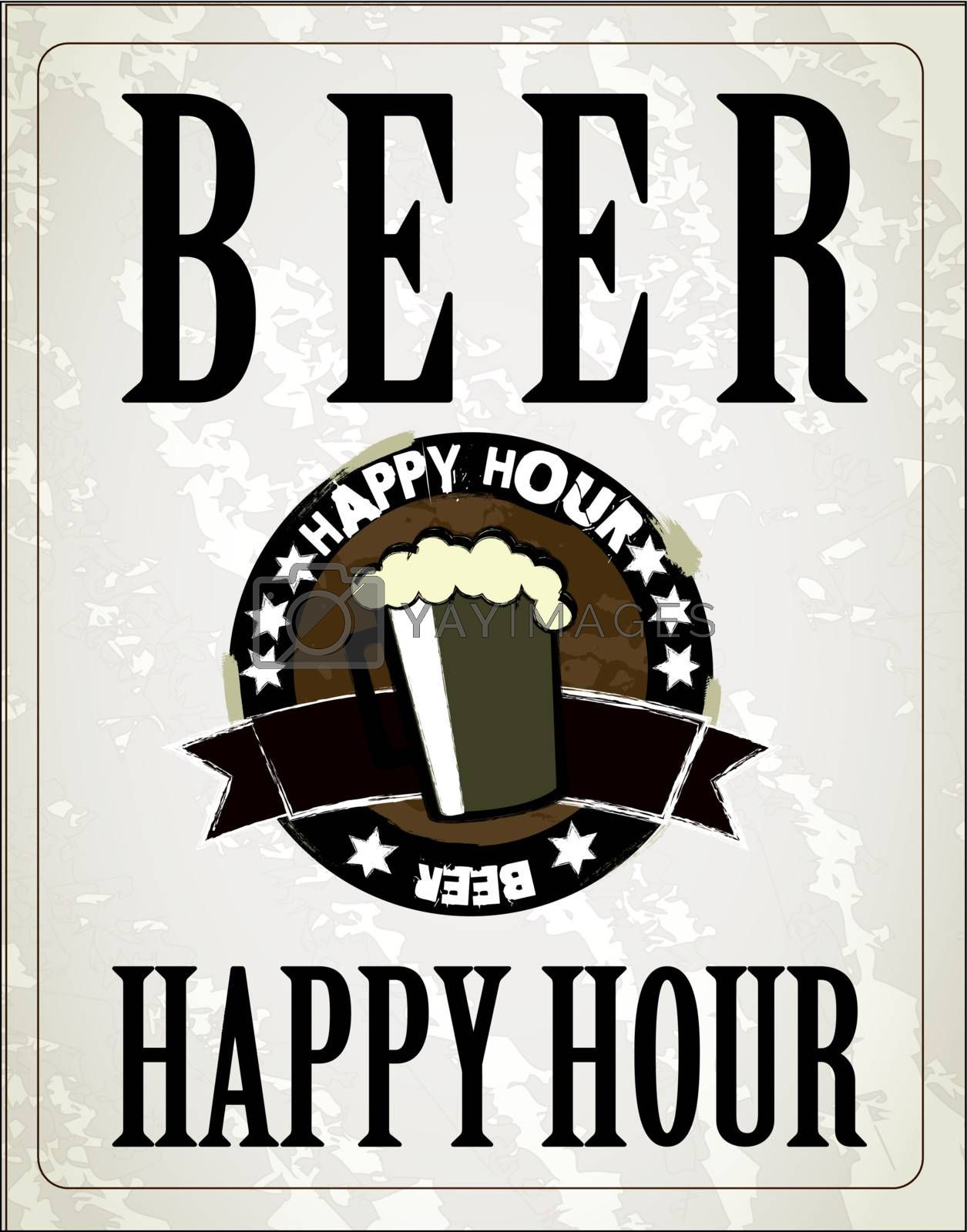poster happy hour with one beer vector illustration