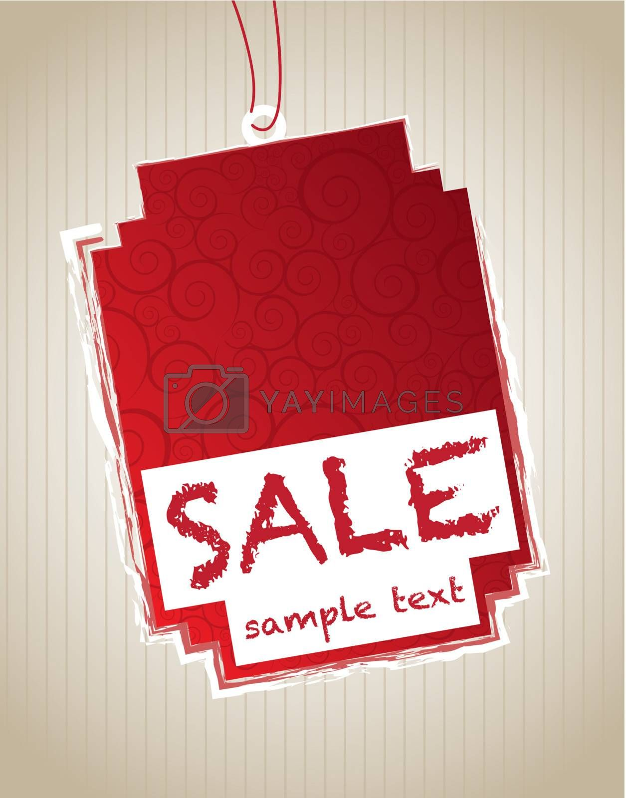 Red sale tag over white background vector illustration