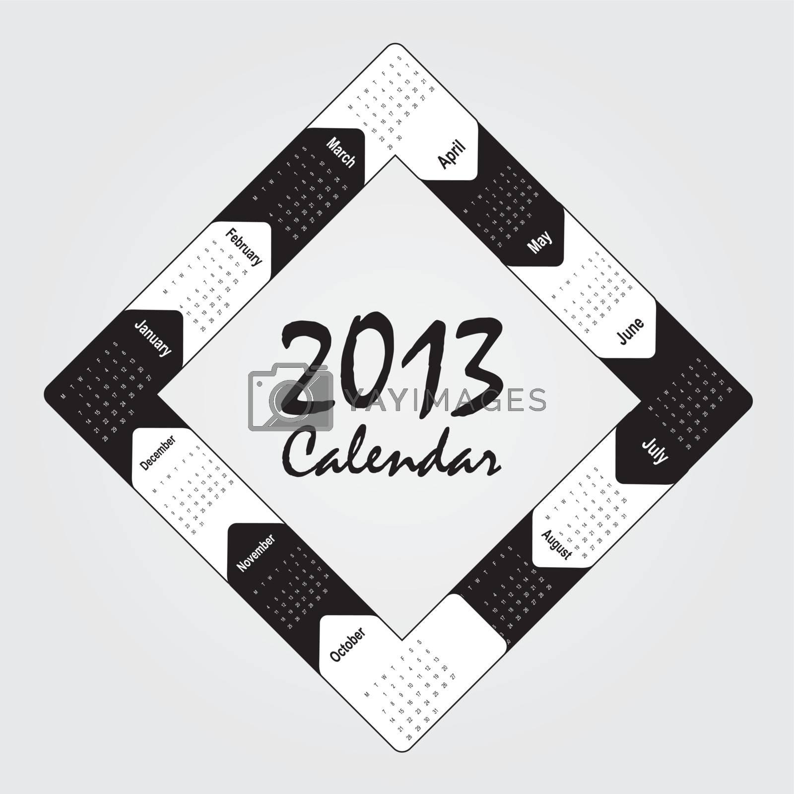 black and white 2013 calendar over white background