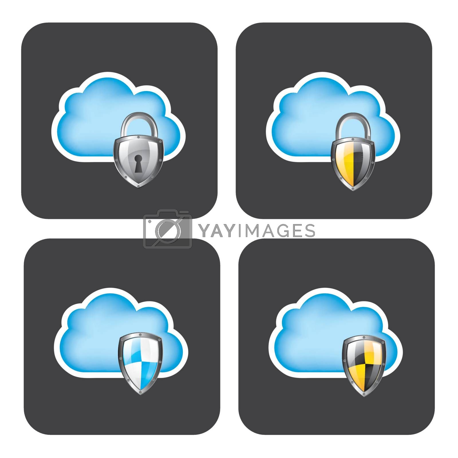 Cloud security icons over gray background vector illustration